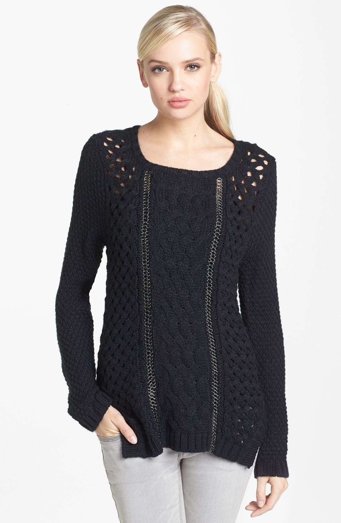 Main Image - Trouvé Chain Detail Mix Knit Sweater