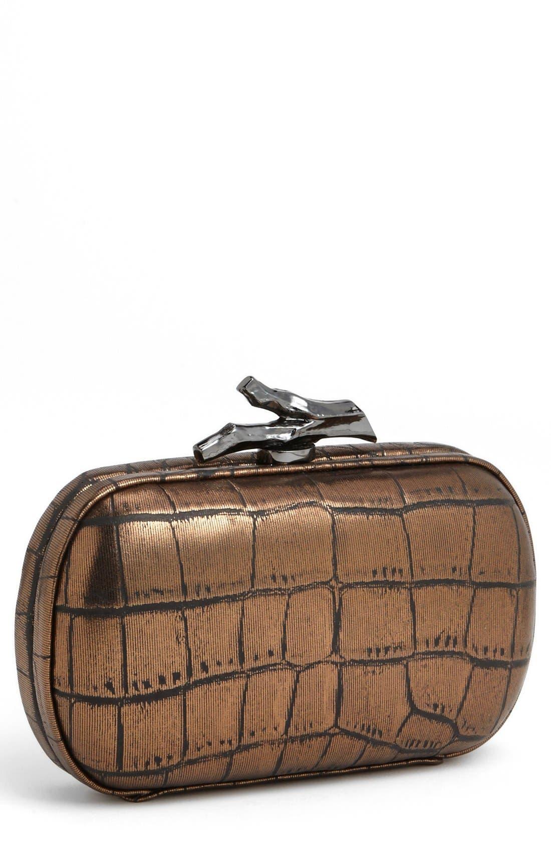 Main Image - Diane von Furstenberg 'Lytton' Embossed Metallic Leather Clutch