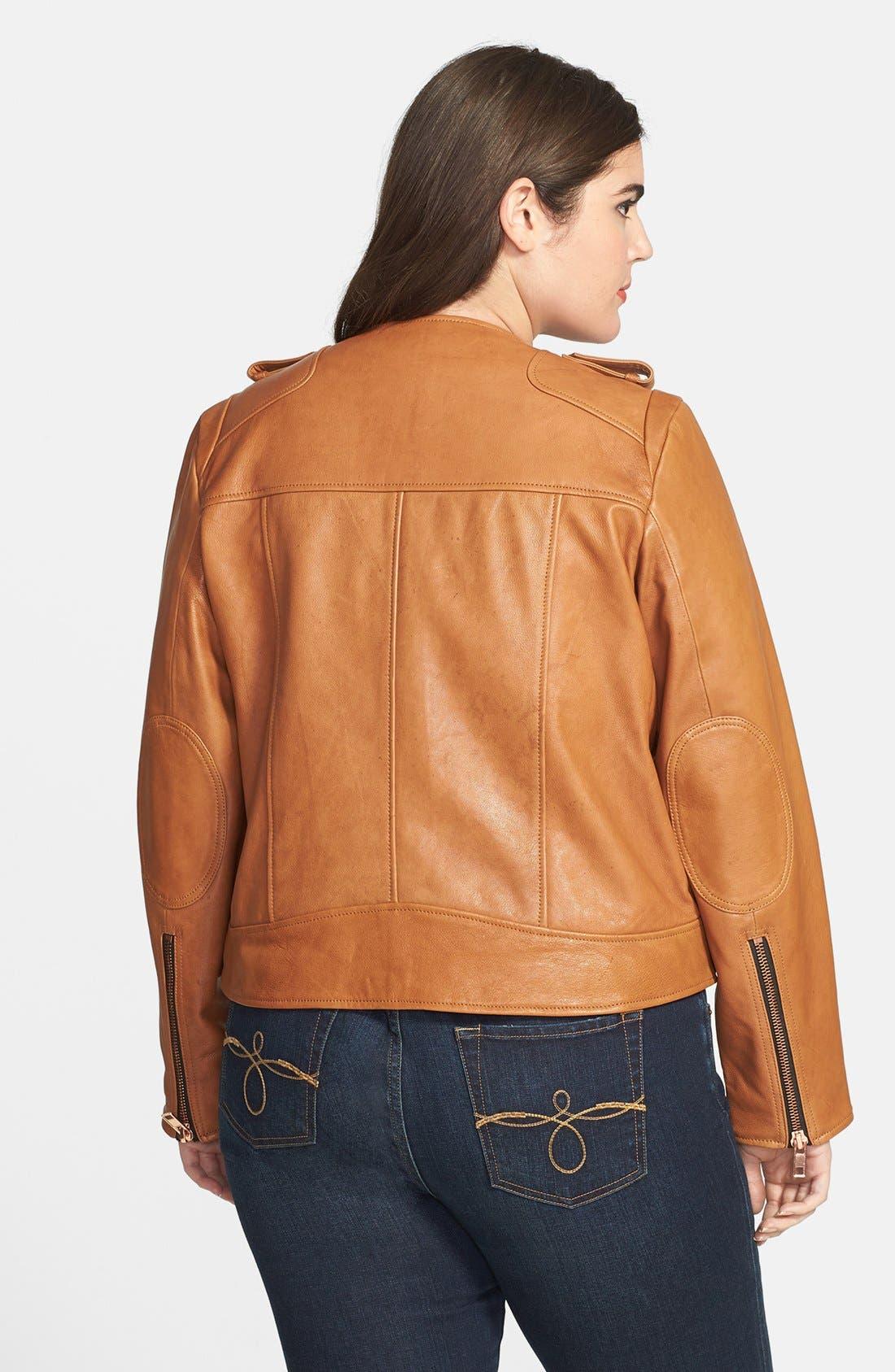 Alternate Image 2  - John Carlisle Leather Moto Jacket (Plus Size)