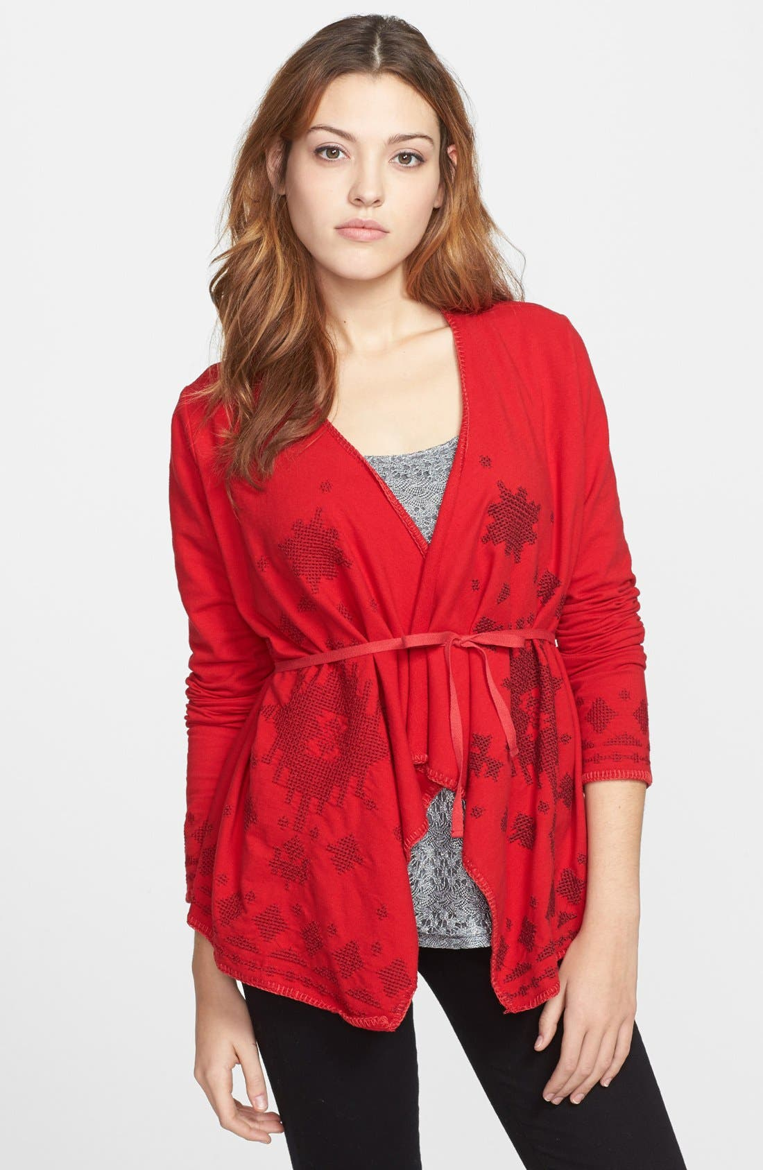 'Hannah' Embroidered Wrap,                         Main,                         color, Haute Red