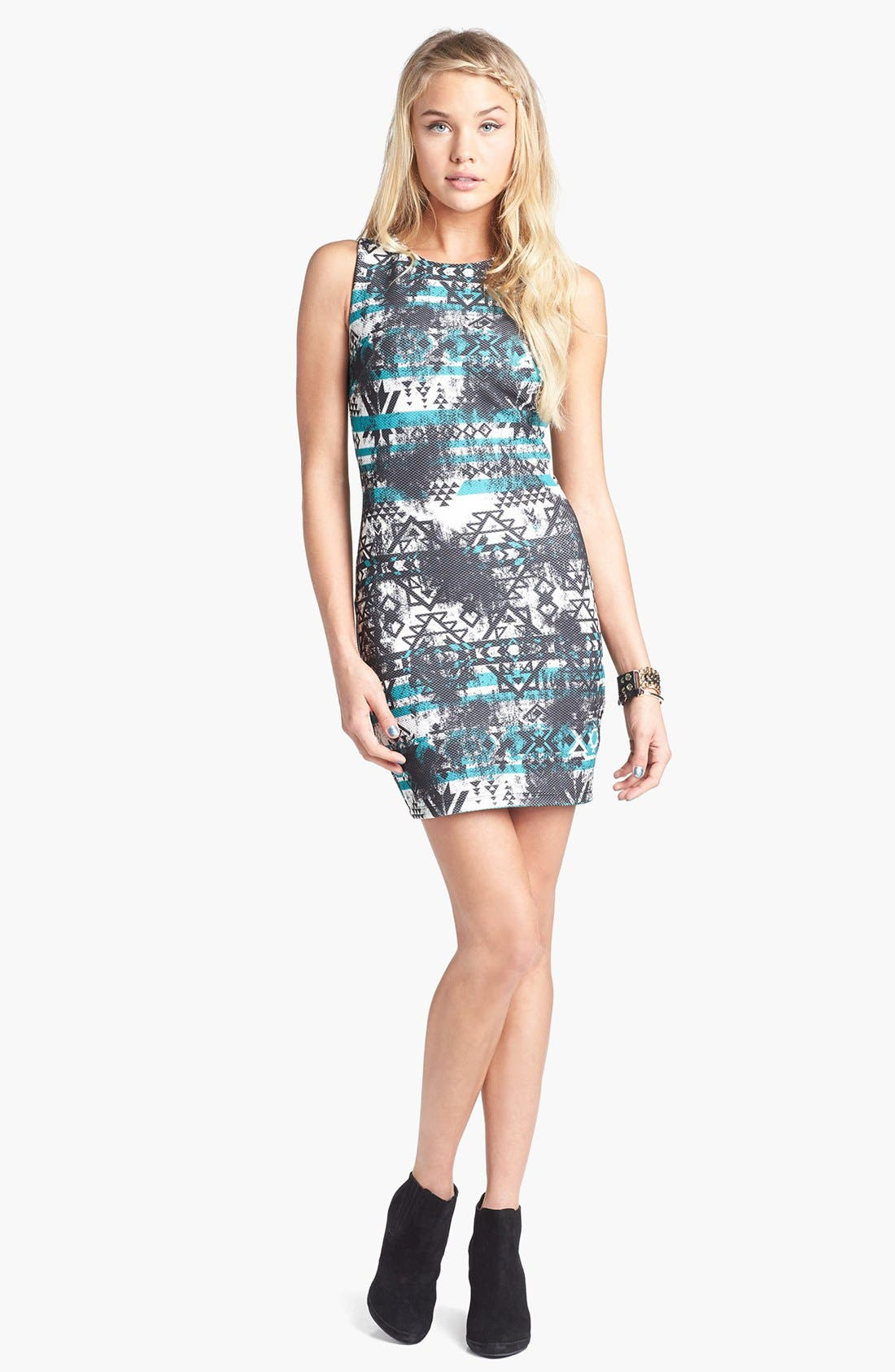 Main Image - Trixxi Print Racerback Body-Con Dress (Juniors)