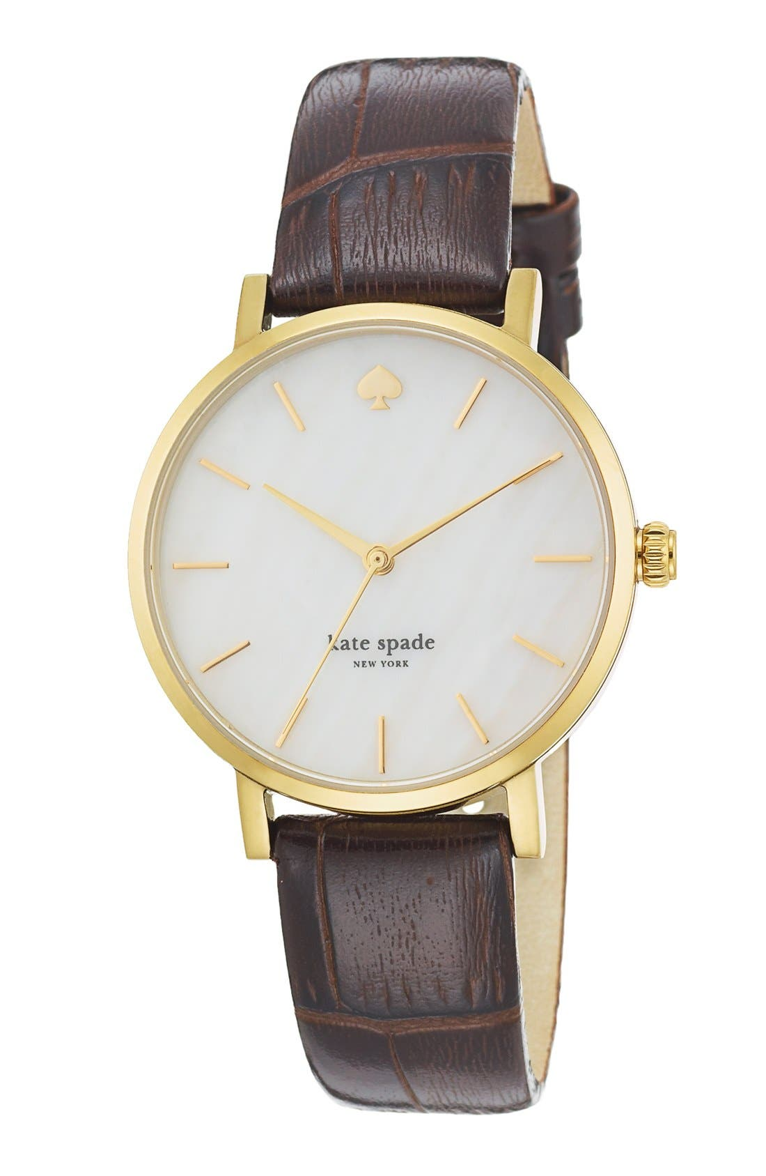 Alternate Image 2  - kate spade new york 'metro' embossed leather strap watch