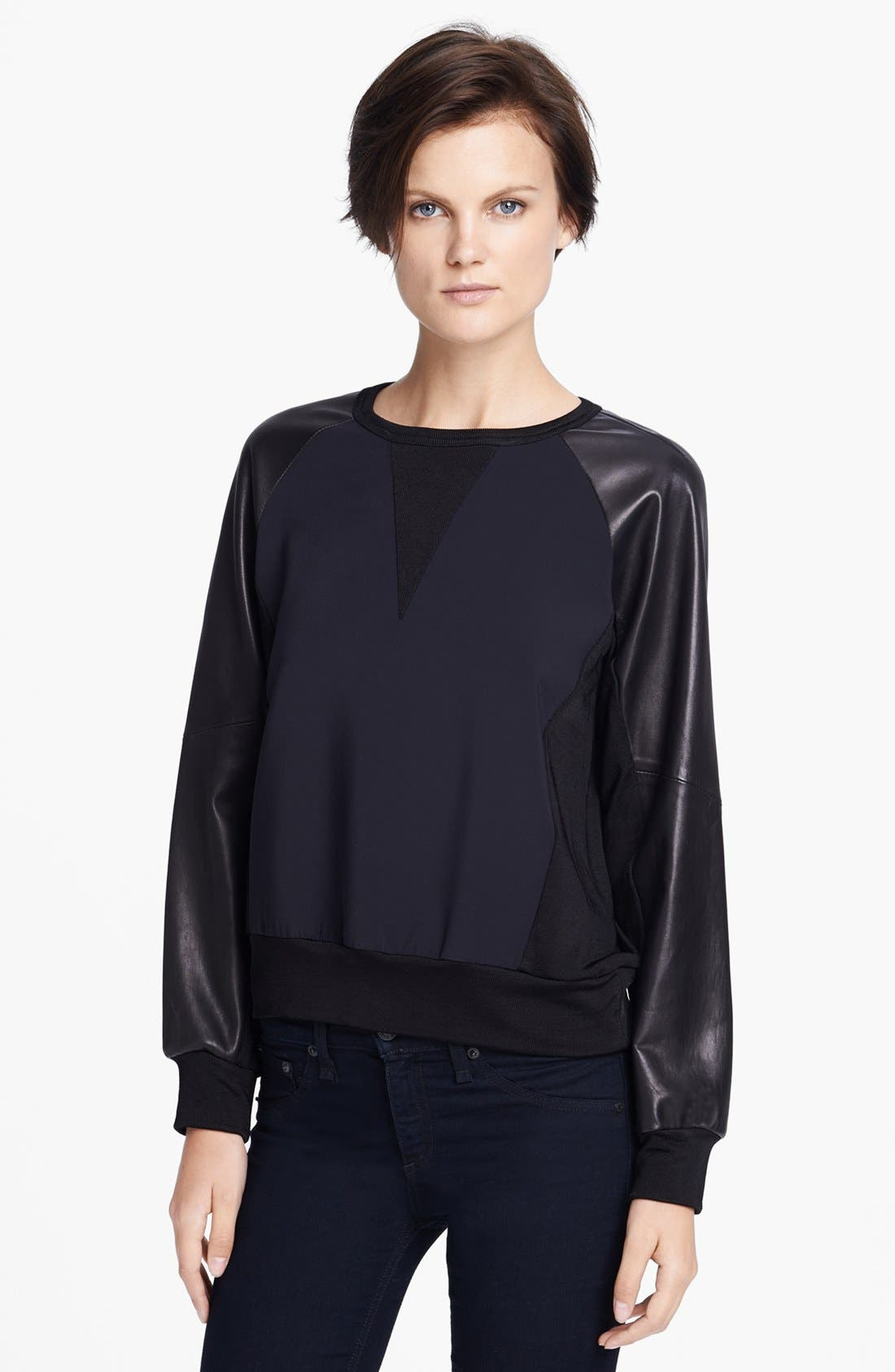 Main Image - rag & bone 'Kent' Leather Sleeve Sweatshirt