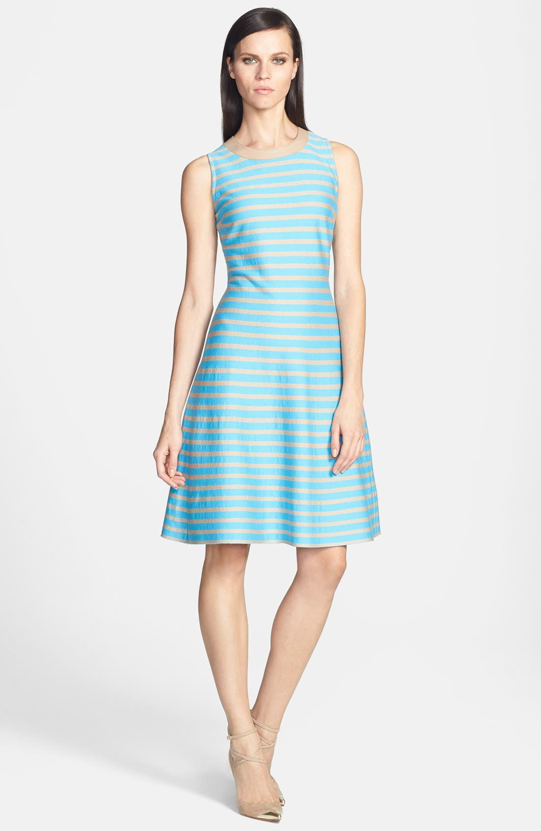 Main Image - St. John Collection Stripe Milano Knit Fit & Flare Dress