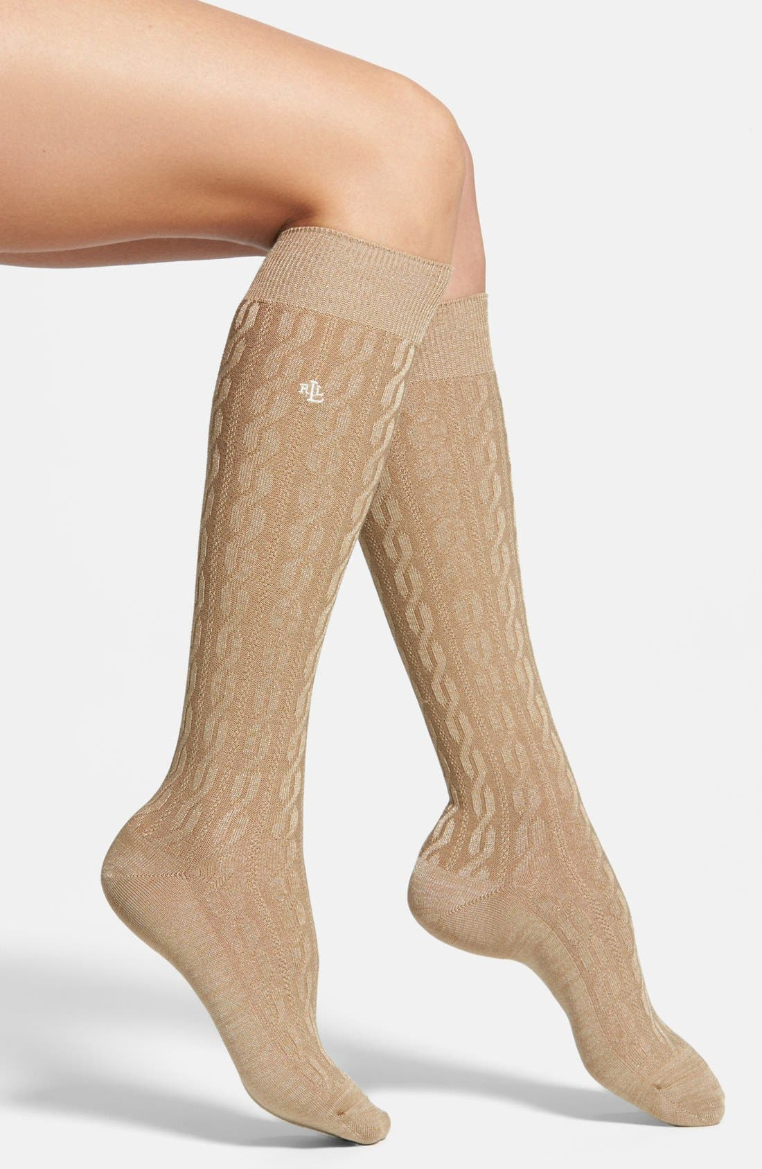 Alternate Image 1 Selected - Ralph Lauren Cable Knit Knee High Socks