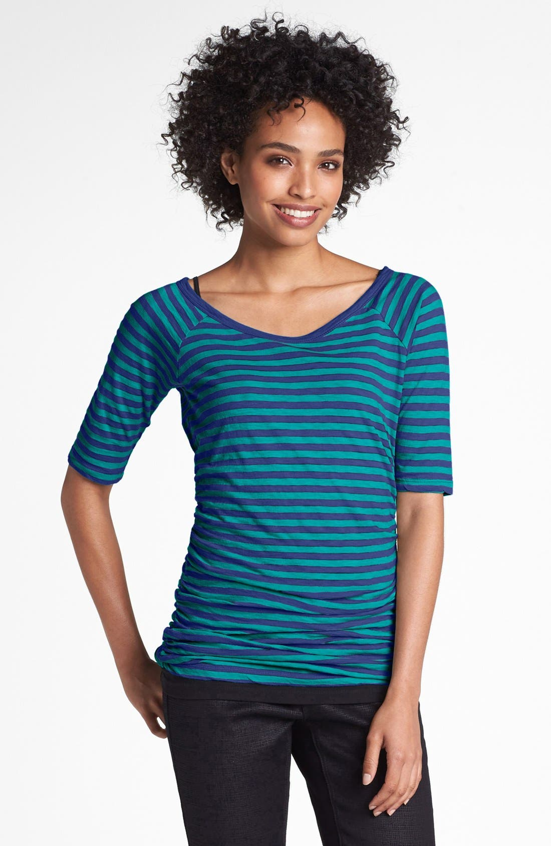 Main Image - Caslon® Elbow Sleeve Side Ruched Tee (Regular & Petite)
