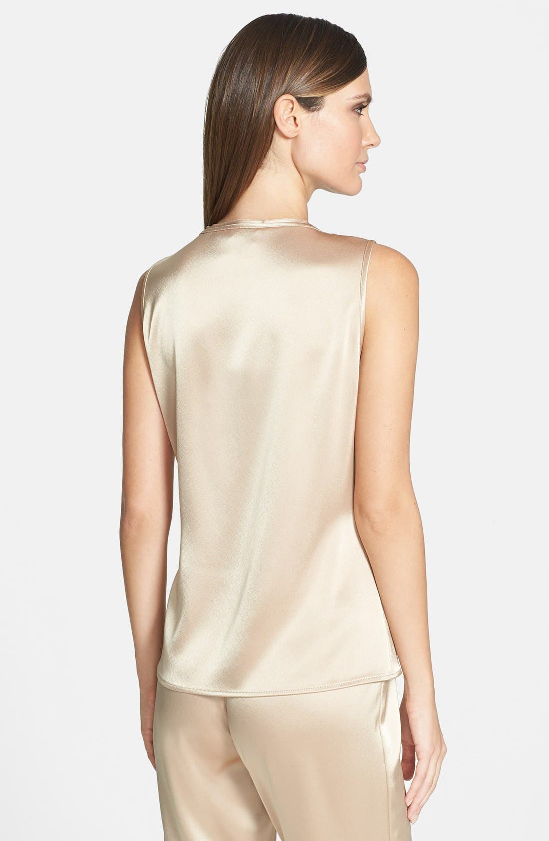 Alternate Image 2  - St. John Collection Gathered Neck Liquid Satin Shell