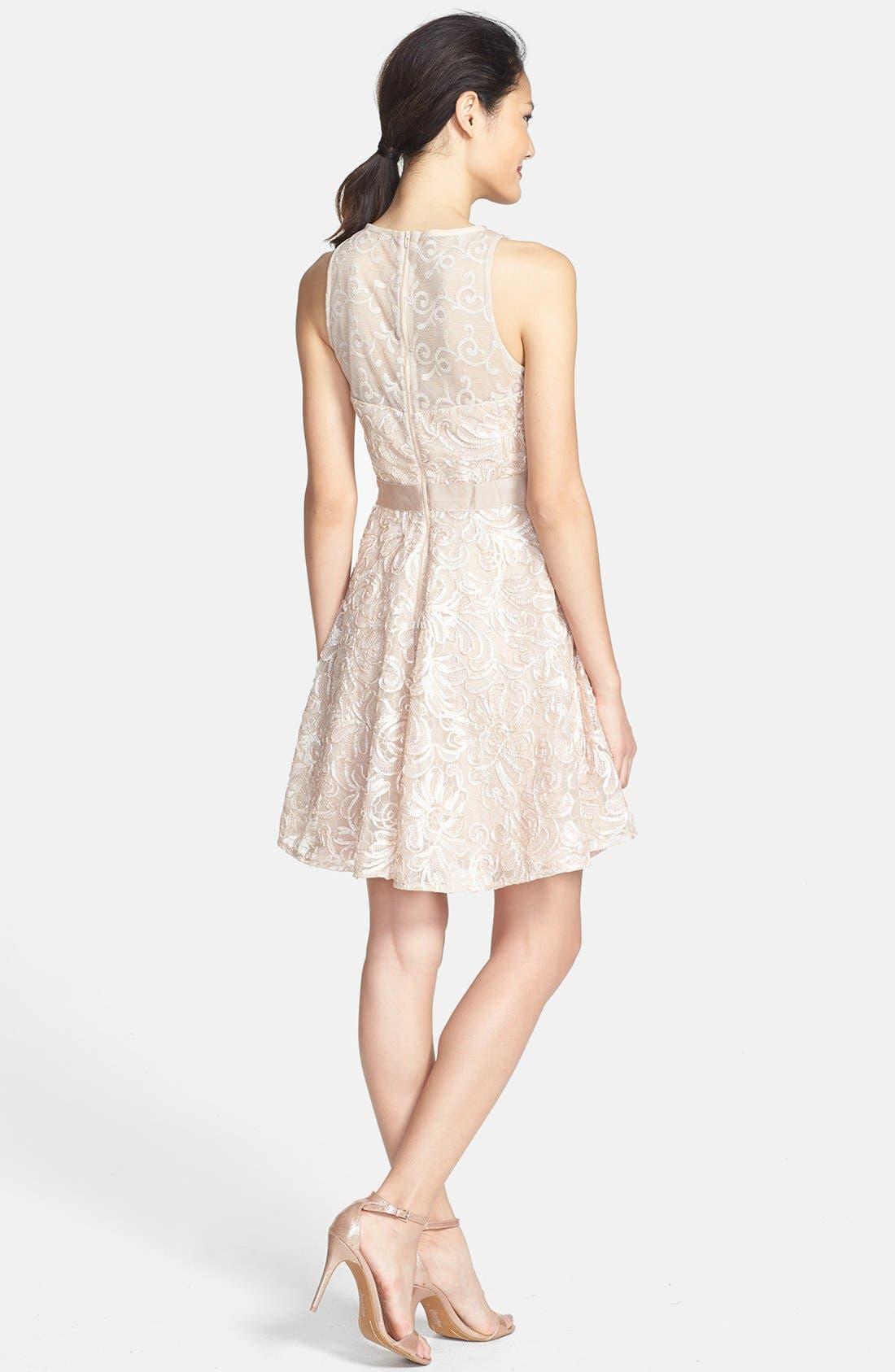 Alternate Image 2  - Taylor Dresses Soutache Lace Fit & Flare Dress