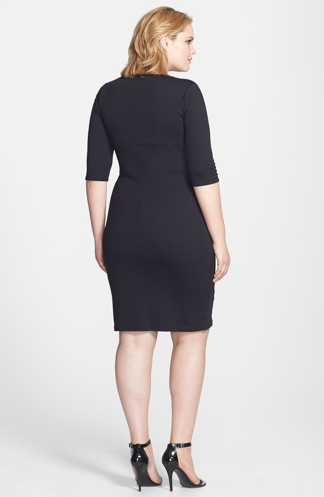 Alternate Image 2  - Scarlett & Jo Colorblock Wrap Front Sheath Dress (Plus Size)