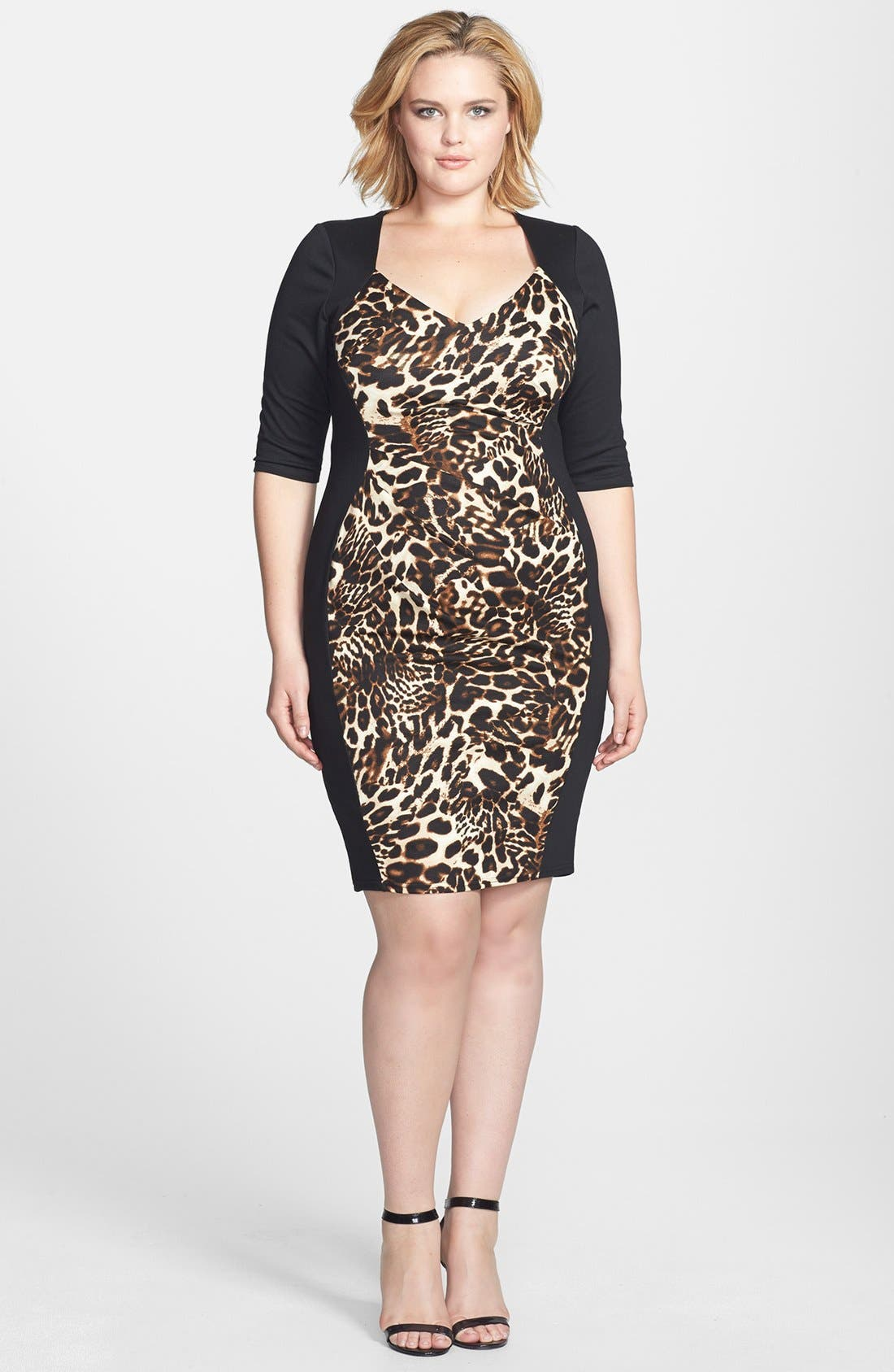 Main Image - Scarlett & Jo Animal Print Colorblock Sheath Dress (Plus Size)
