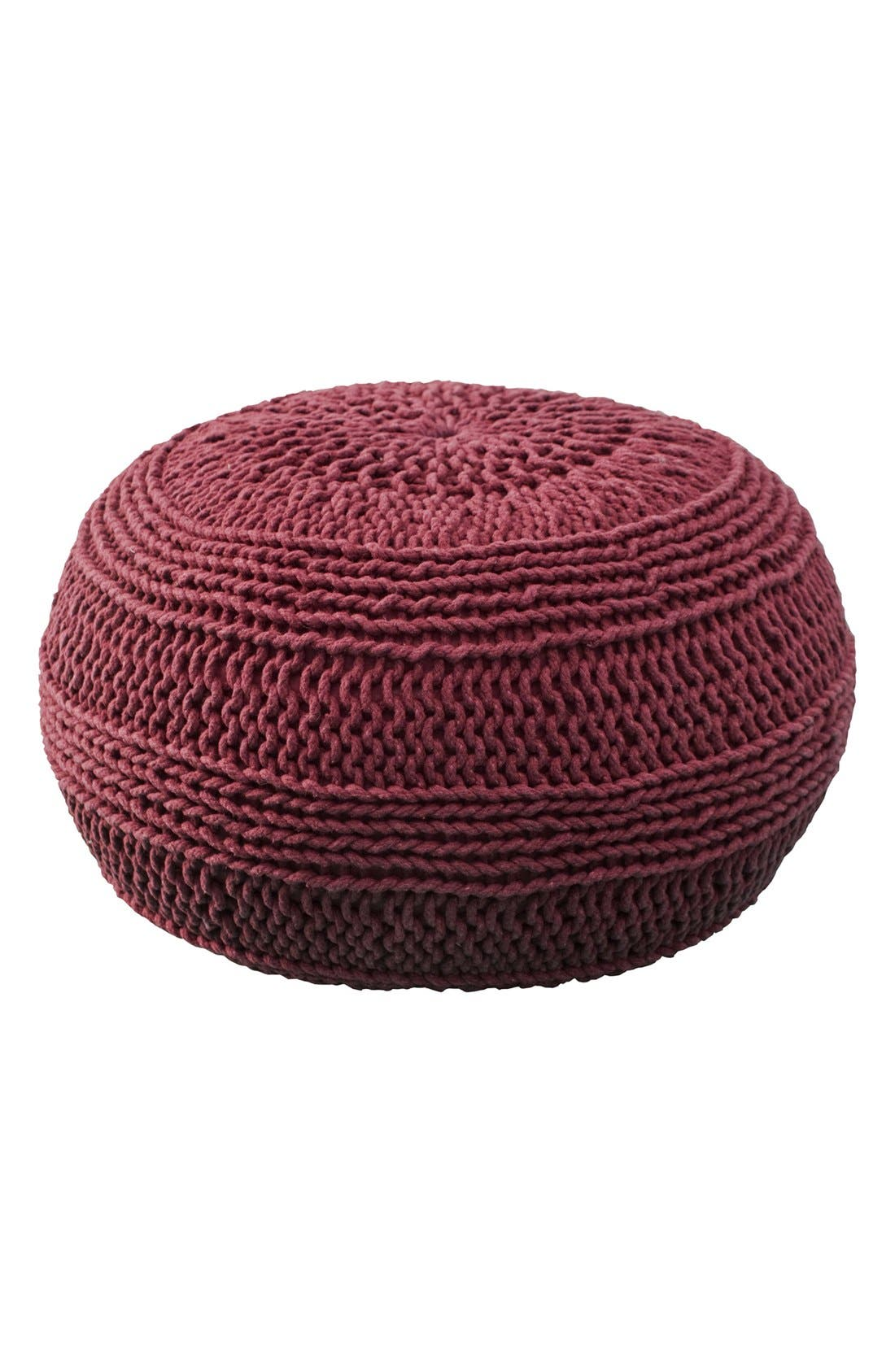 Woven Pouf,                         Main,                         color, Red