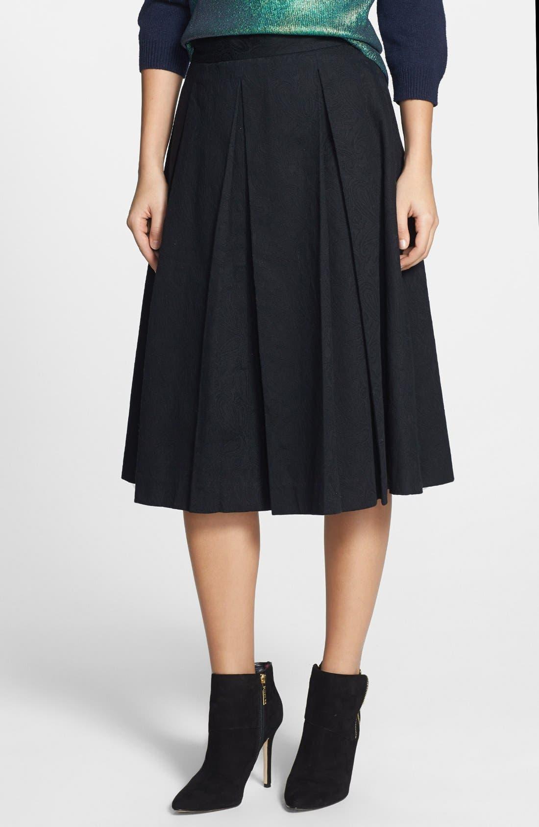 Main Image - Tildon Pleated Jacquard Midi Skirt