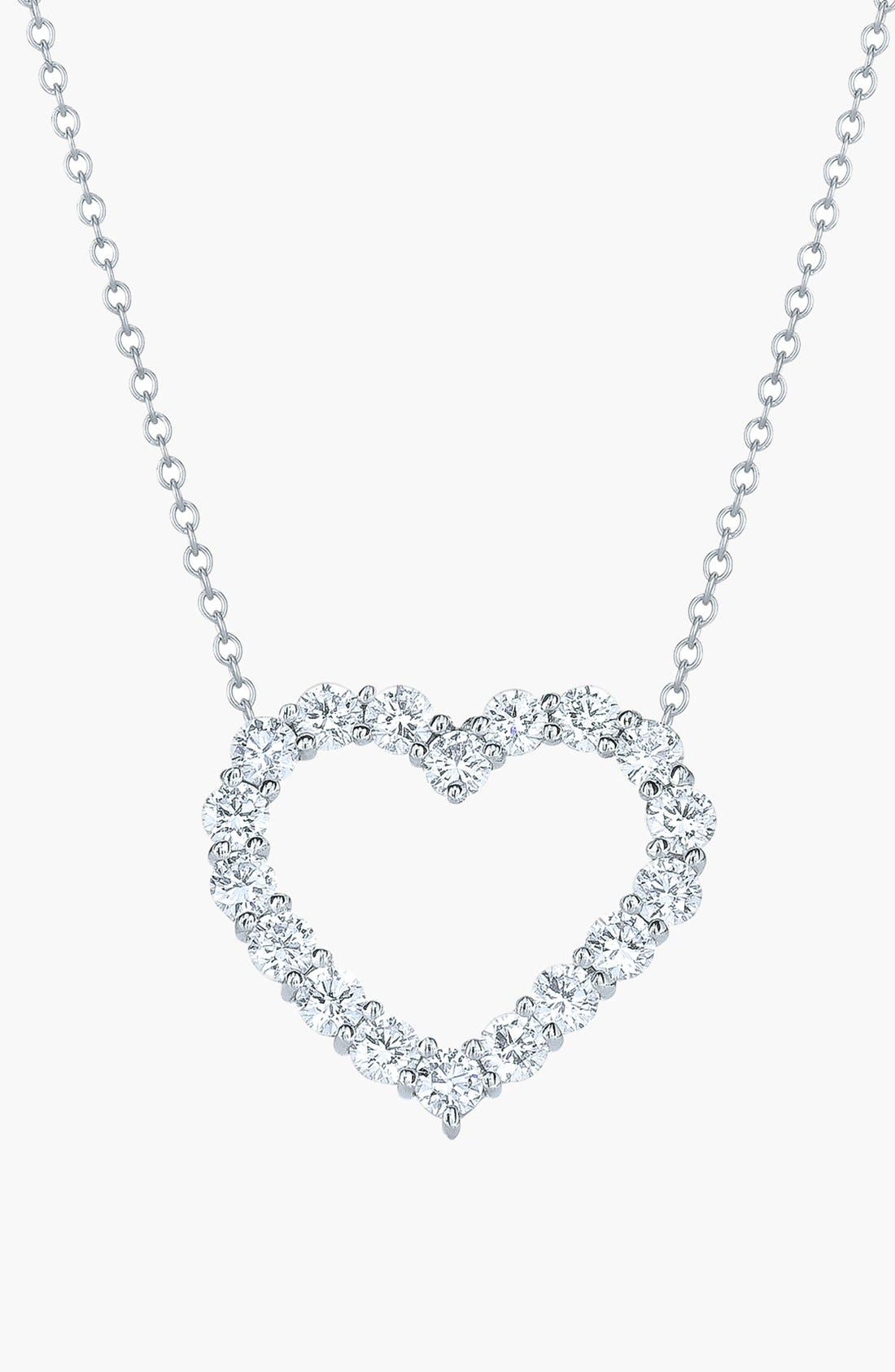 Main Image - Kwiat Open Diamond Heart Pendant Necklace