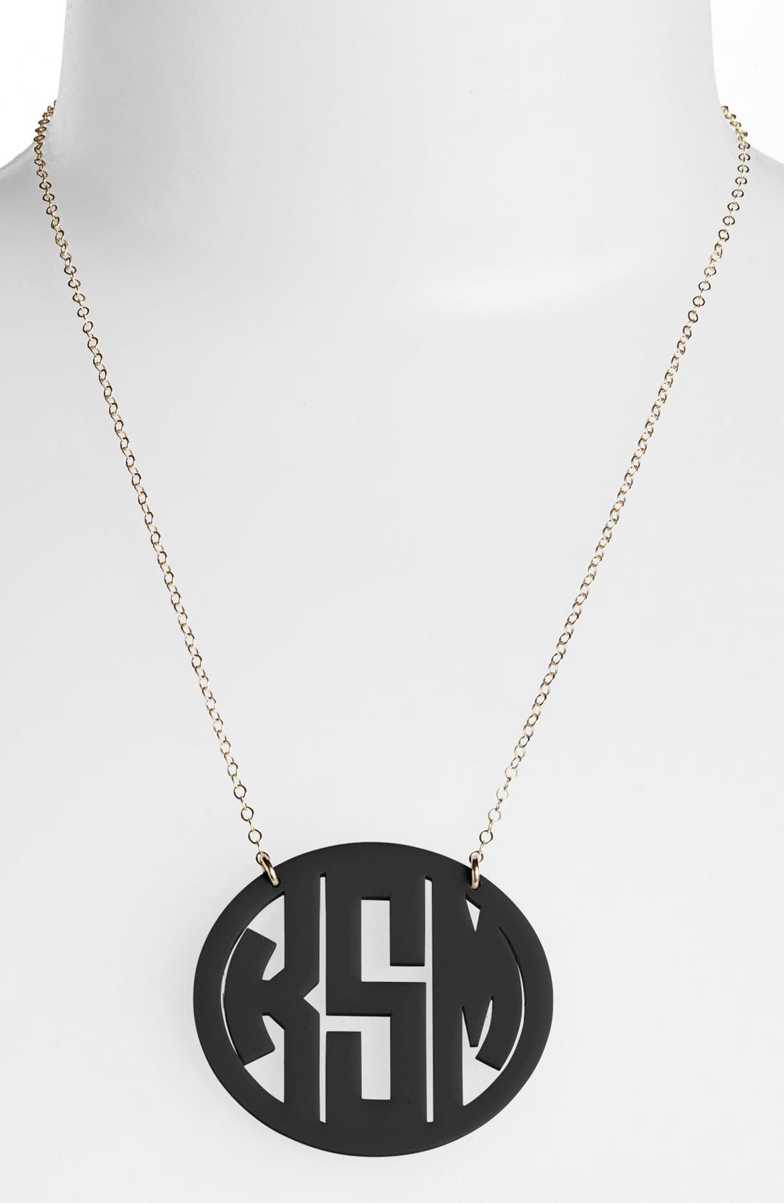 MOON AND LOLA Large Oval Personalized Monogram Pendant Necklace (Nordstrom Exclusive) in Ebony/ Gold