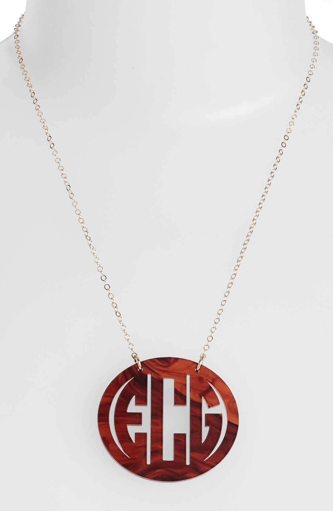 MOON AND LOLA Large Oval Personalized Monogram Pendant Necklace (Nordstrom Exclusive) in Tortoise/ Gold