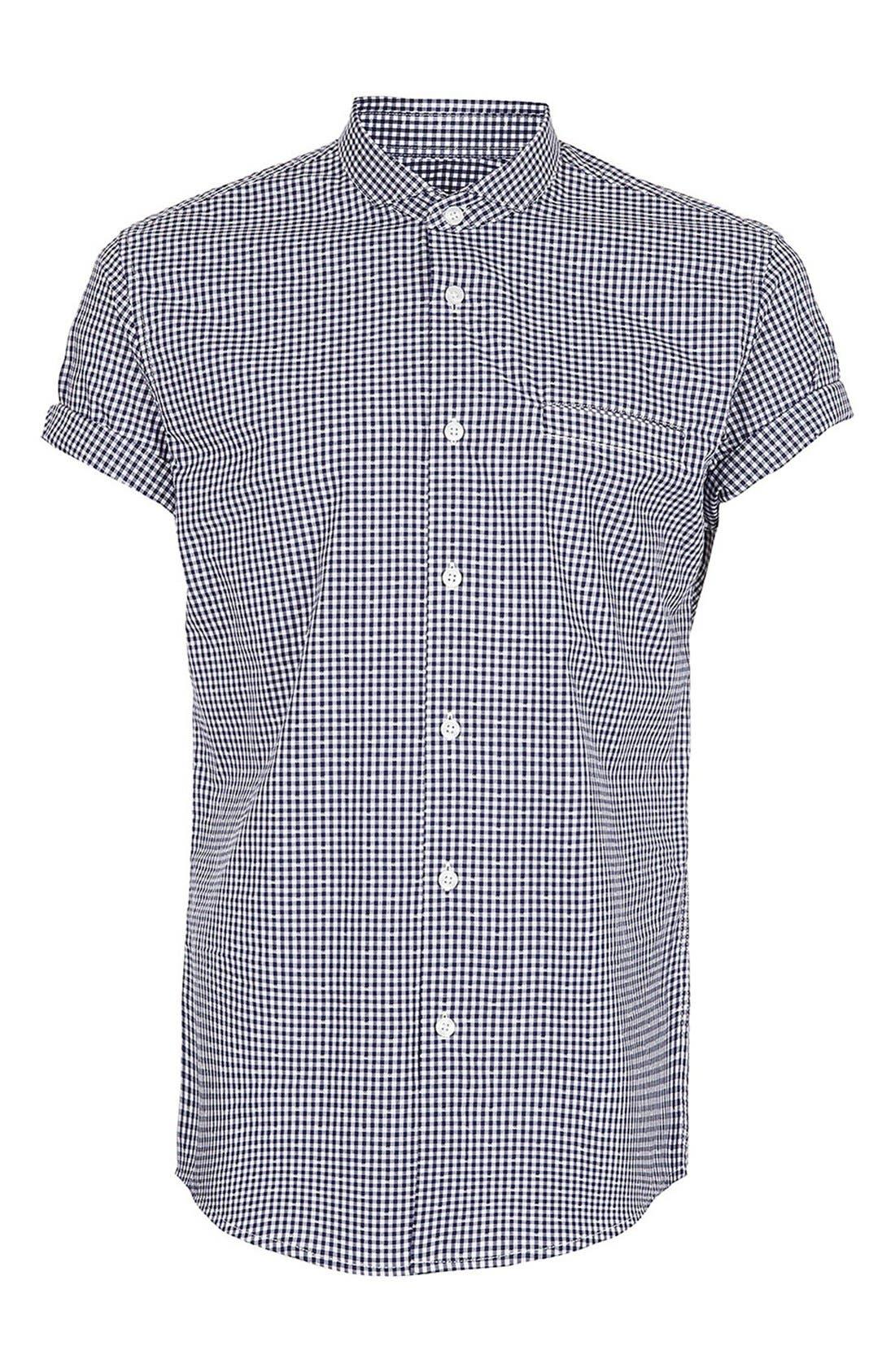 Alternate Image 1 Selected - Topman Short Sleeve Gingham Shirt