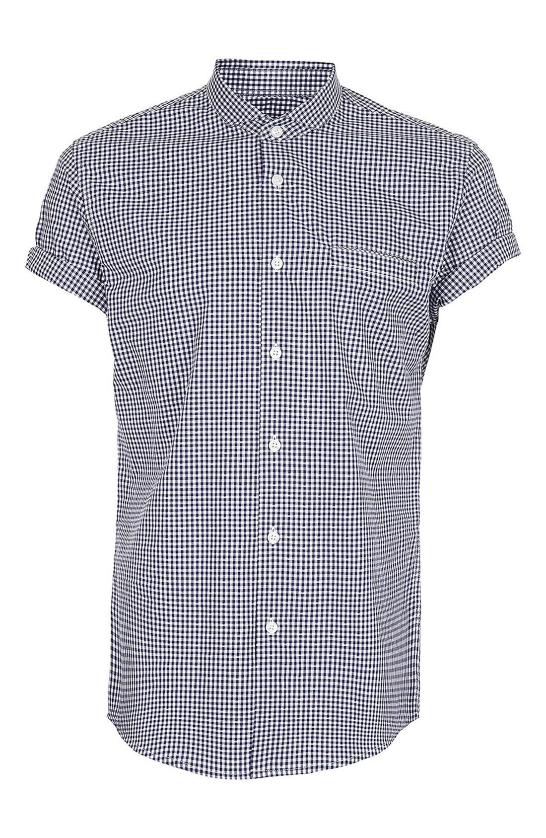 Main Image - Topman Short Sleeve Gingham Shirt