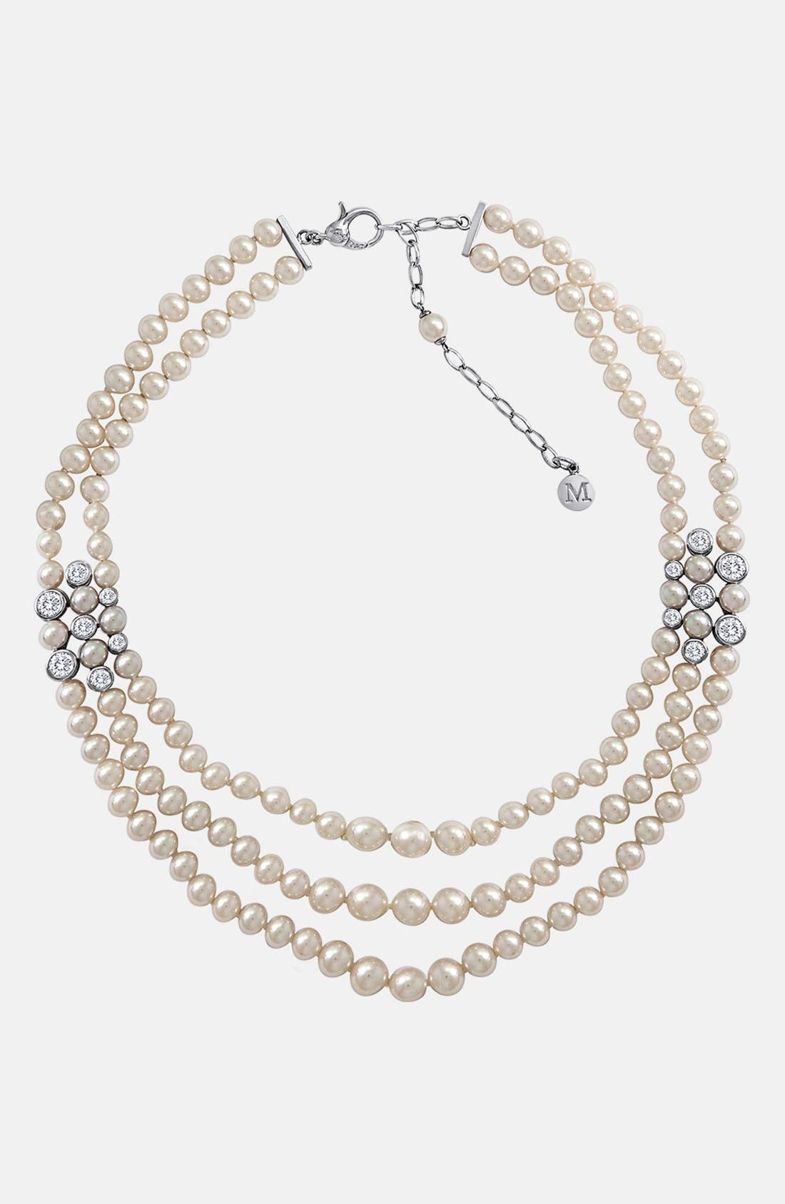 Main Image - Majorica Pearl & Crystal Multistrand Necklace