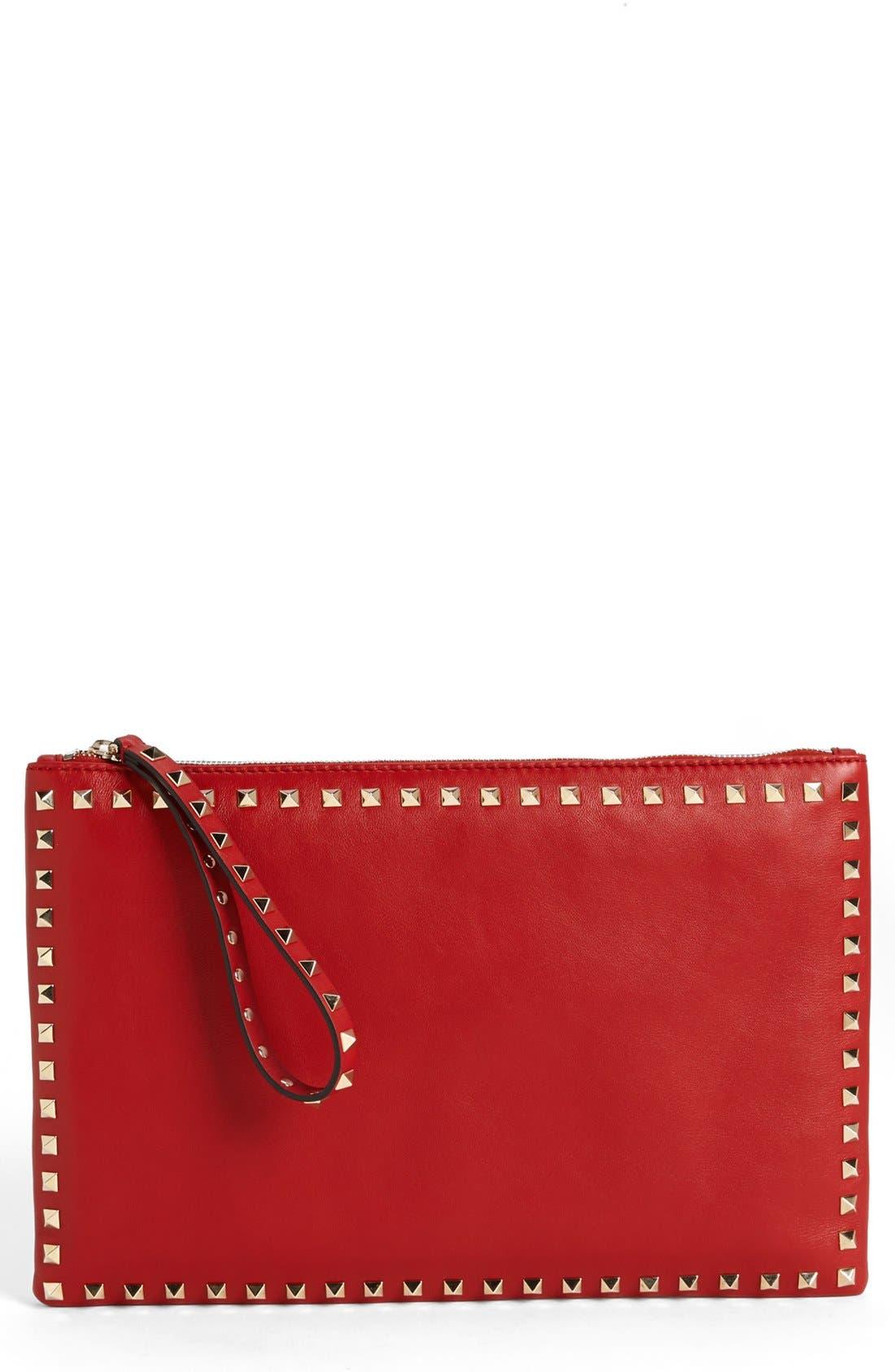 Main Image - Valentino 'Rockstud - Flat' Nappa Leather Clutch