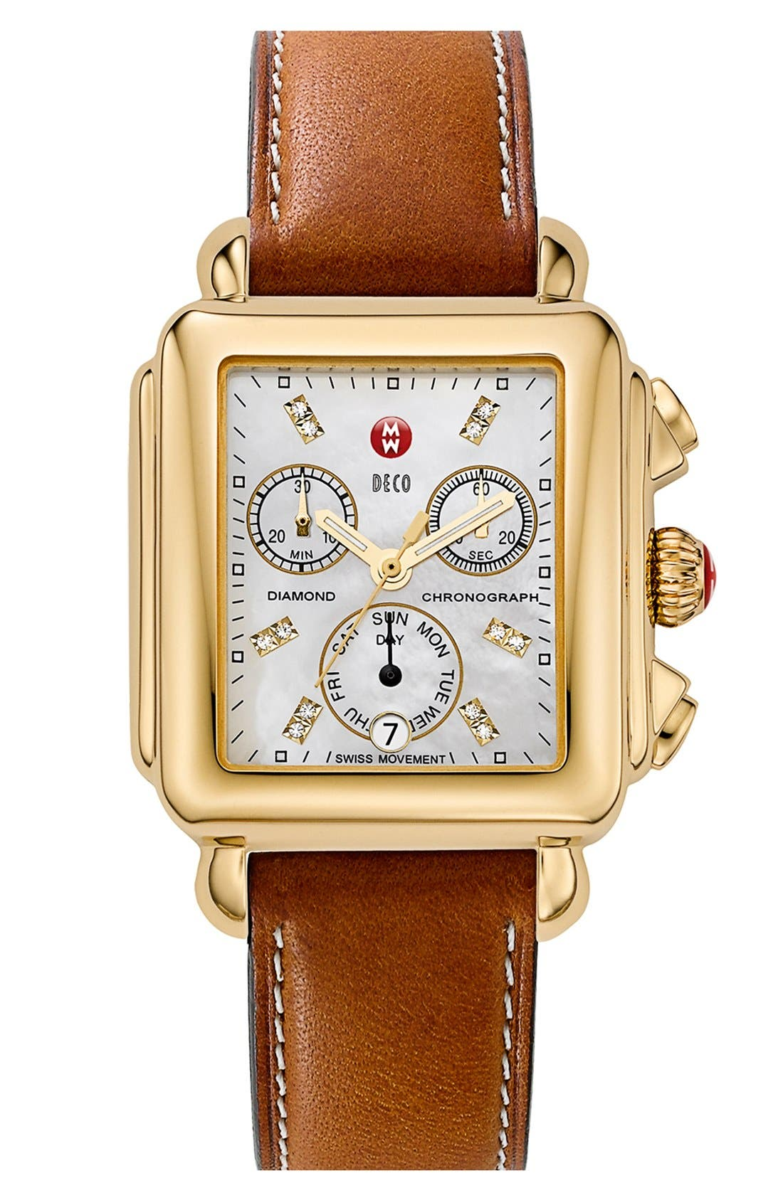 Alternate Image 2  - MICHELE 'Deco' Diamond Dial Watch Case & 18mm Leather Strap