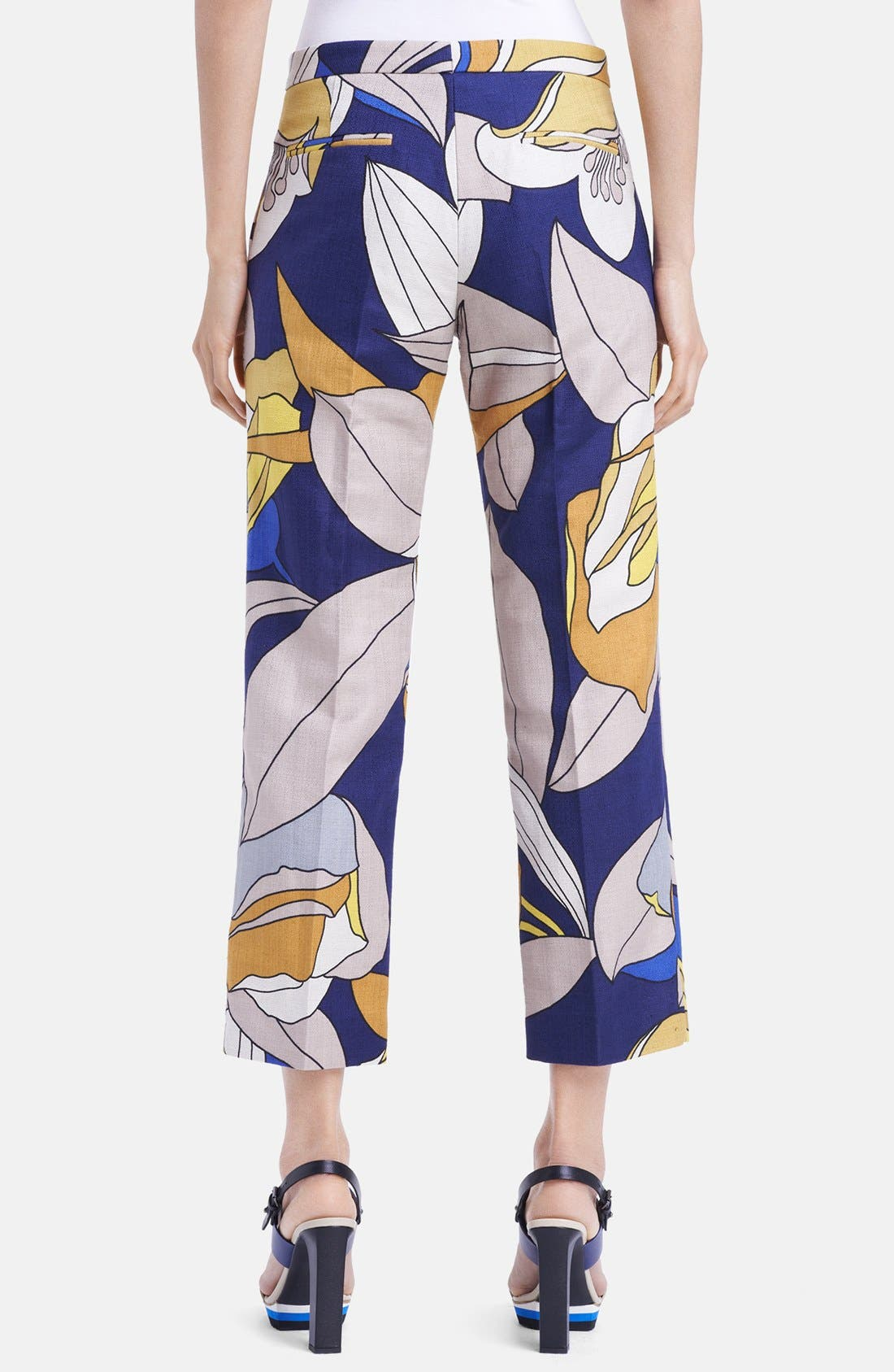Alternate Image 2  - Marni Floral Print Crop Cotton & Linen Pants