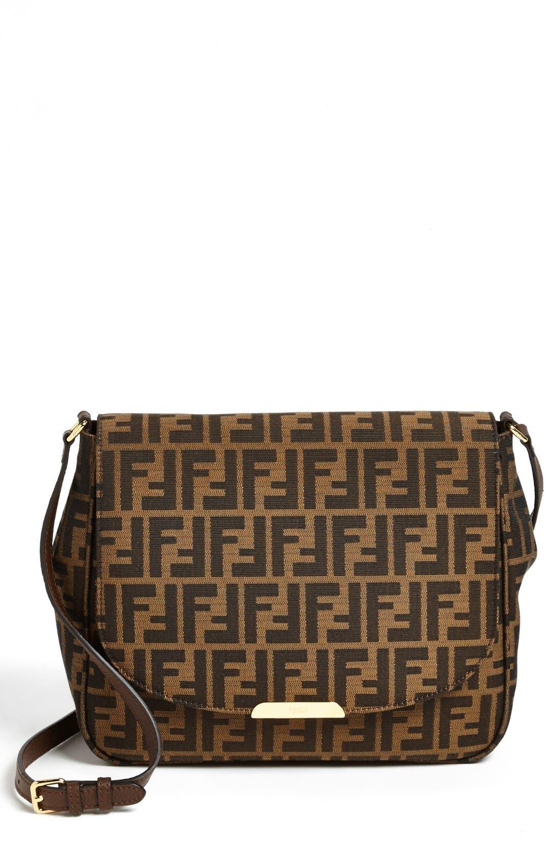 Alternate Image 1 Selected - Fendi 'Zucca - Large' Logo Jacquard Crossbody Bag
