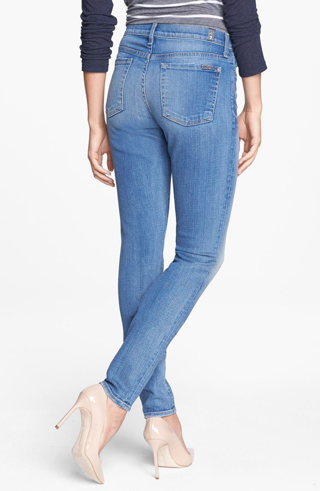 Alternate Image 2  - 7 For All Mankind® Faded Skinny Jeans (Bright Red Cast Blue)