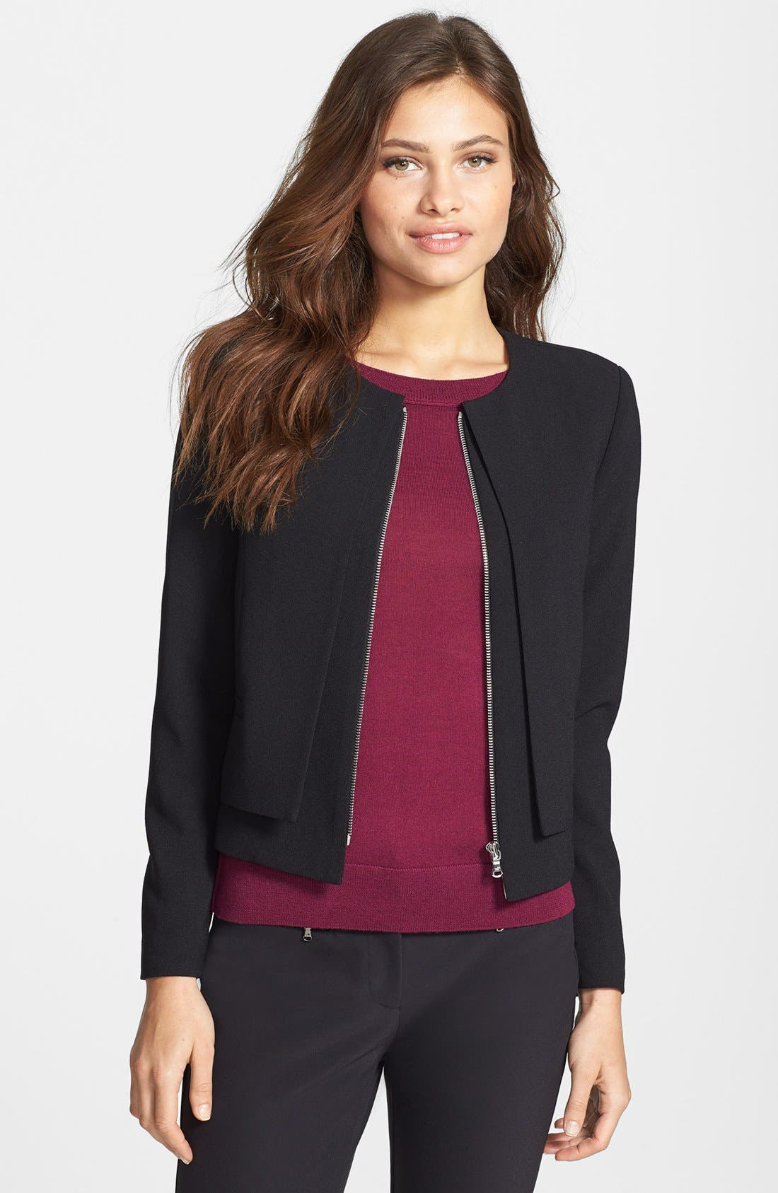 Main Image - Kenneth Cole New York 'Peggy' Layered Front Zip Jacket (Petite)