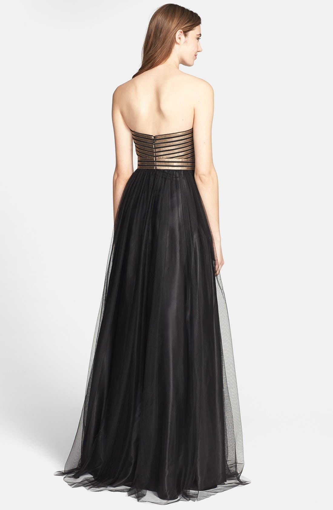 Alternate Image 2  - Aidan Mattox Strapless Fitted Bodice Mesh Gown