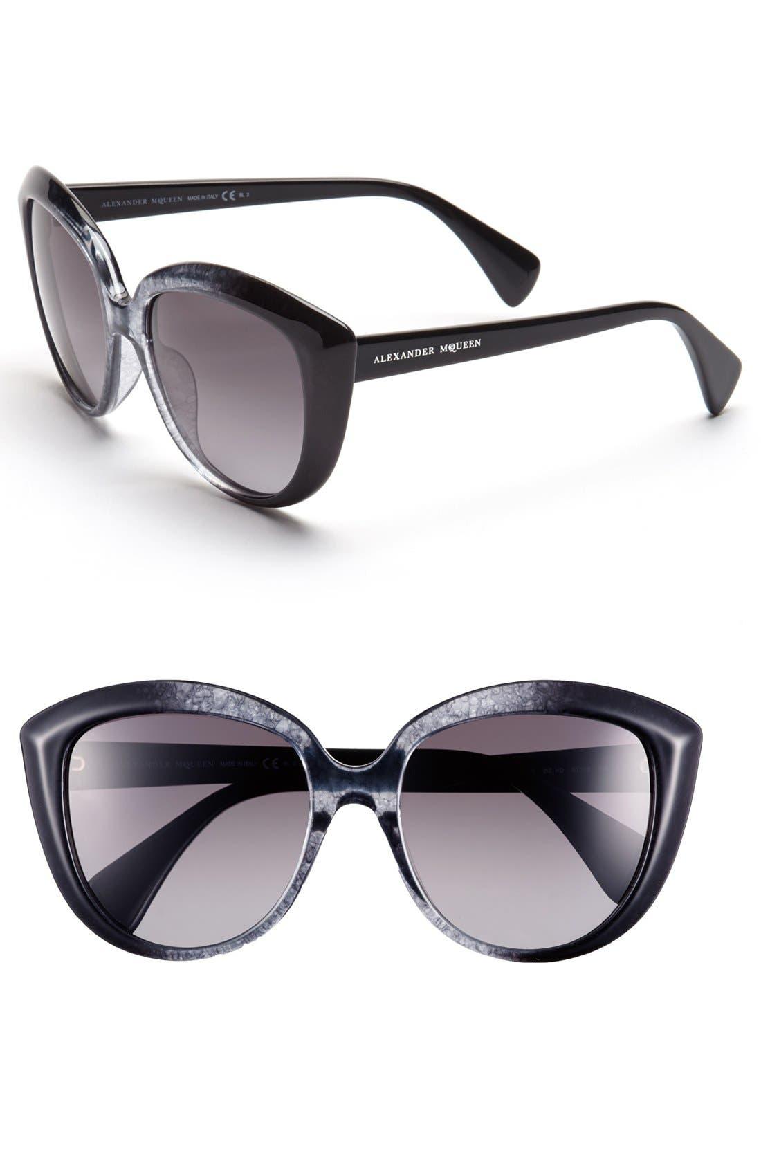 55mm Gradient Cat Eye Sunglasses,                         Main,                         color, Black/ Grey
