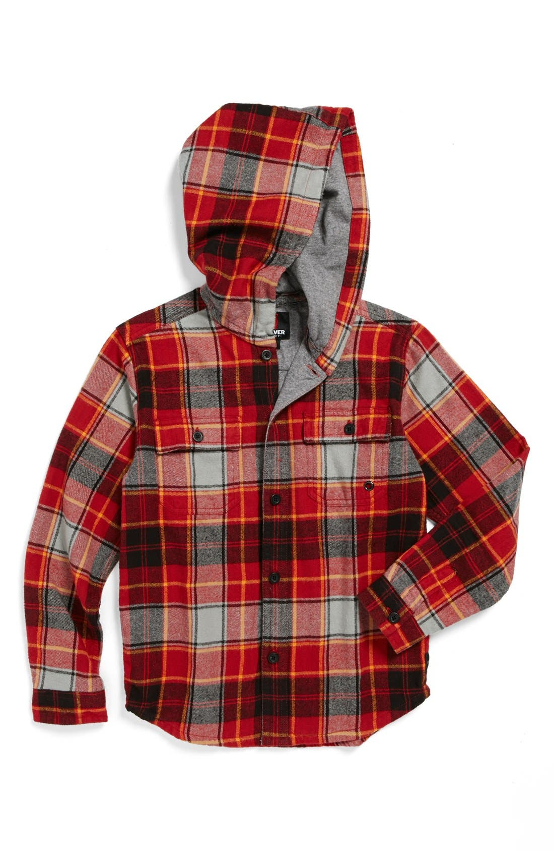 Main Image - Quiksilver 'Spray Face' Hooded Flannel Shirt (Big Boys)
