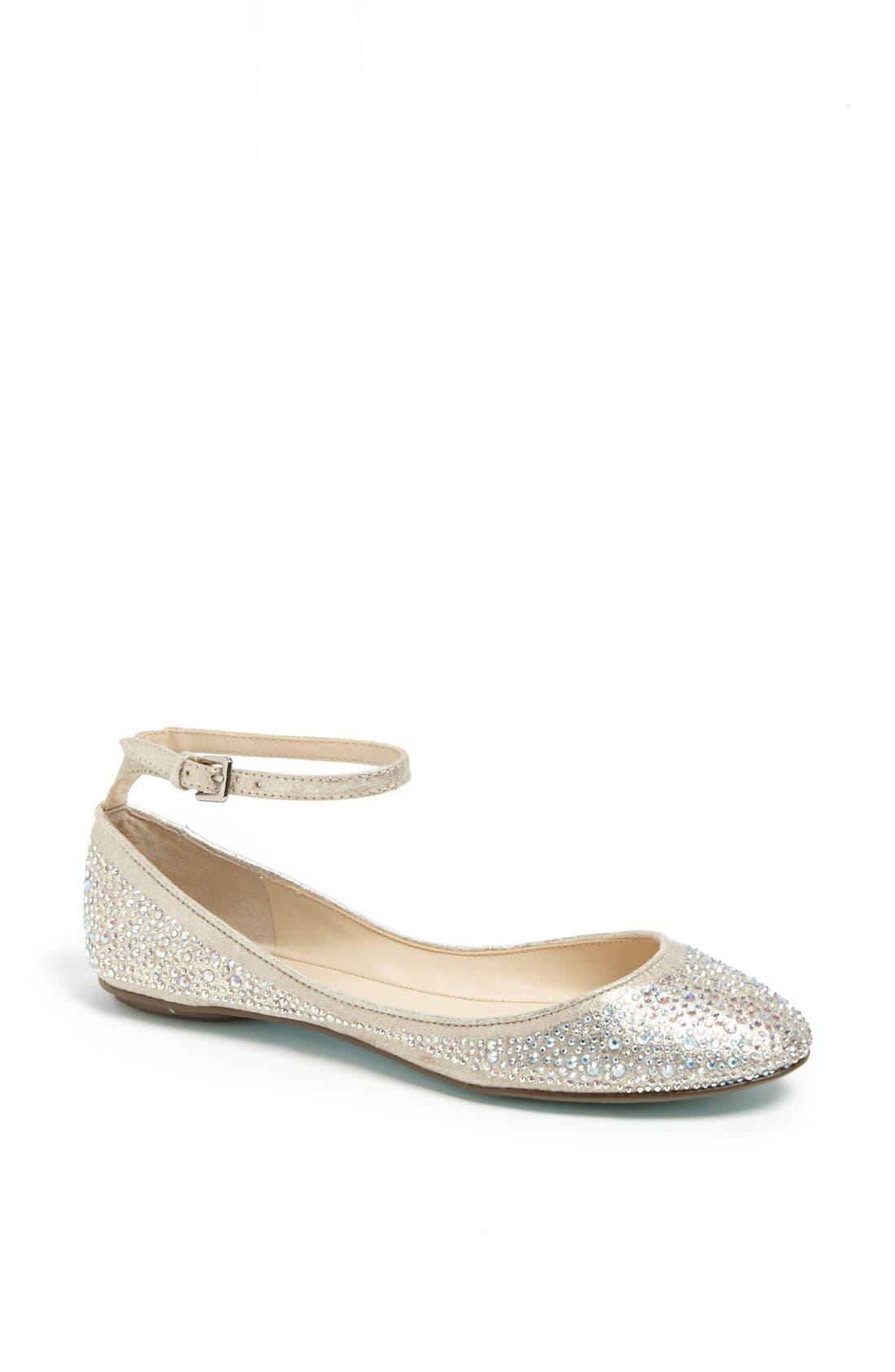 Main Image - Betsey Johnson 'Joy' Ankle Strap Crystal Embellished Flat