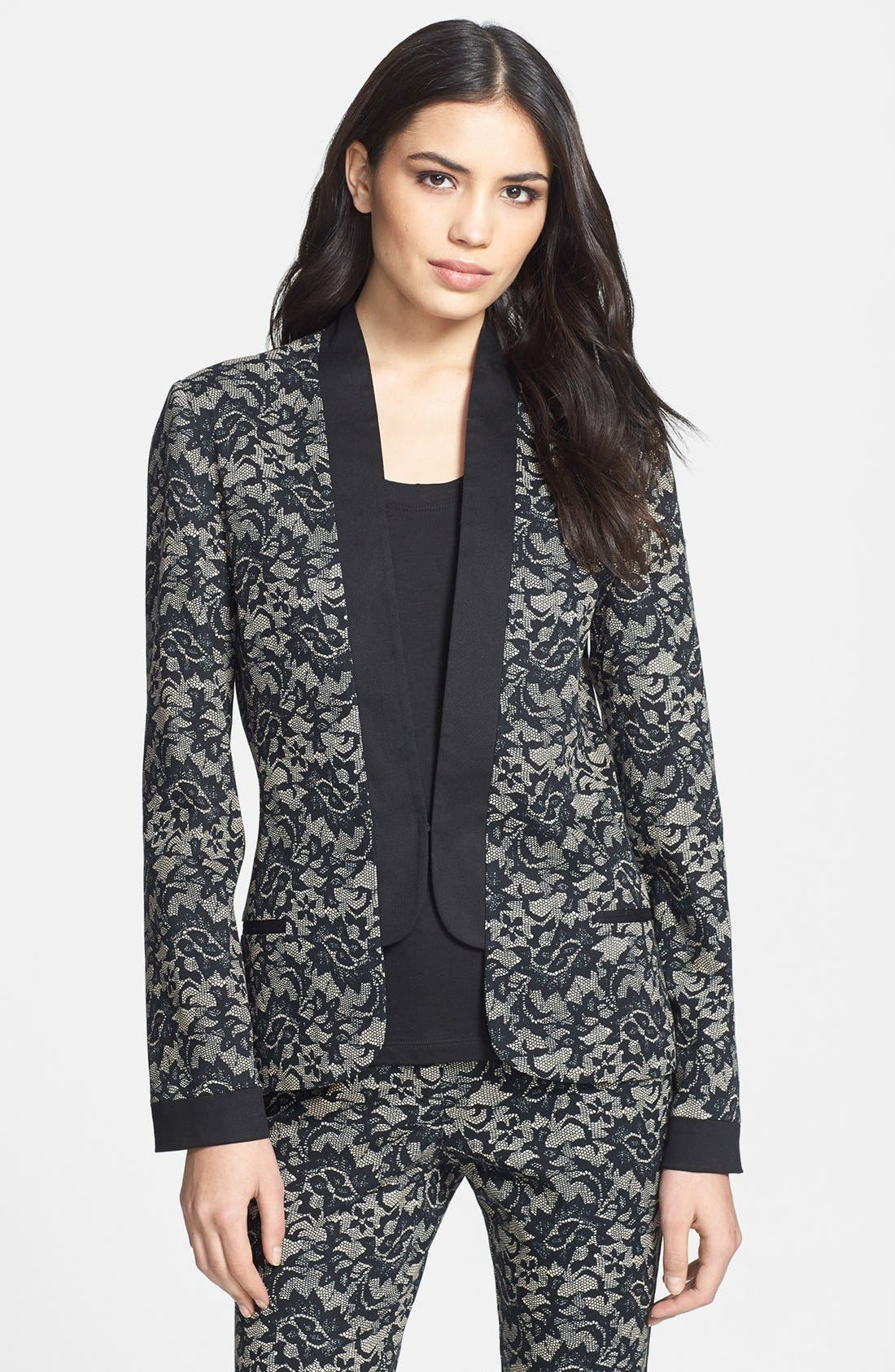 Alternate Image 1 Selected - Nicole Miller Lace Print Tuxedo Jacket