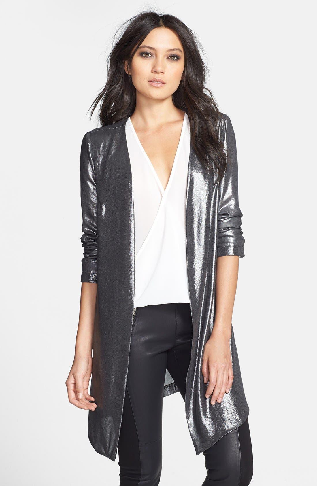Alternate Image 1 Selected - ASTR Open Front Metallic Jacket