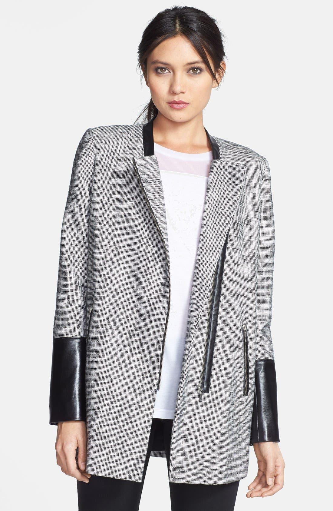 Main Image - Trouvé Leather Trim Tweed Coat