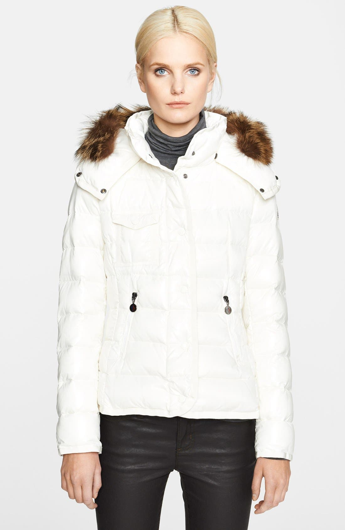 Main Image - Moncler 'Celsie' Genuine Coyote Fur Collar Down Jacket
