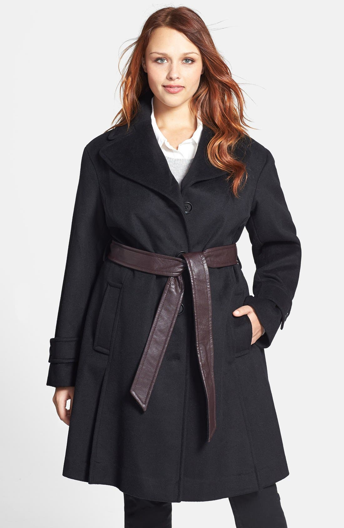 Main Image - DKNY Wool Blend Trench Coat with Faux Leather Belt (Plus Size)