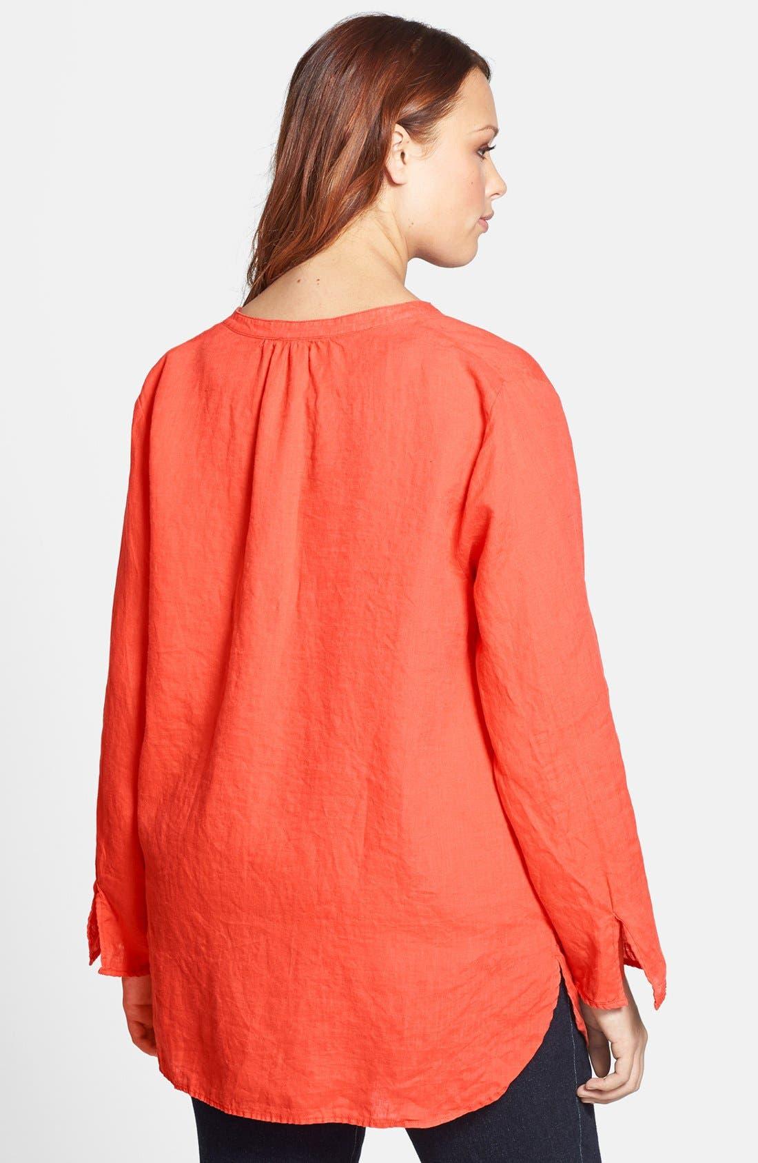 Alternate Image 2  - Eileen Fisher Mandarin Collar Linen Shirt (Plus Size)