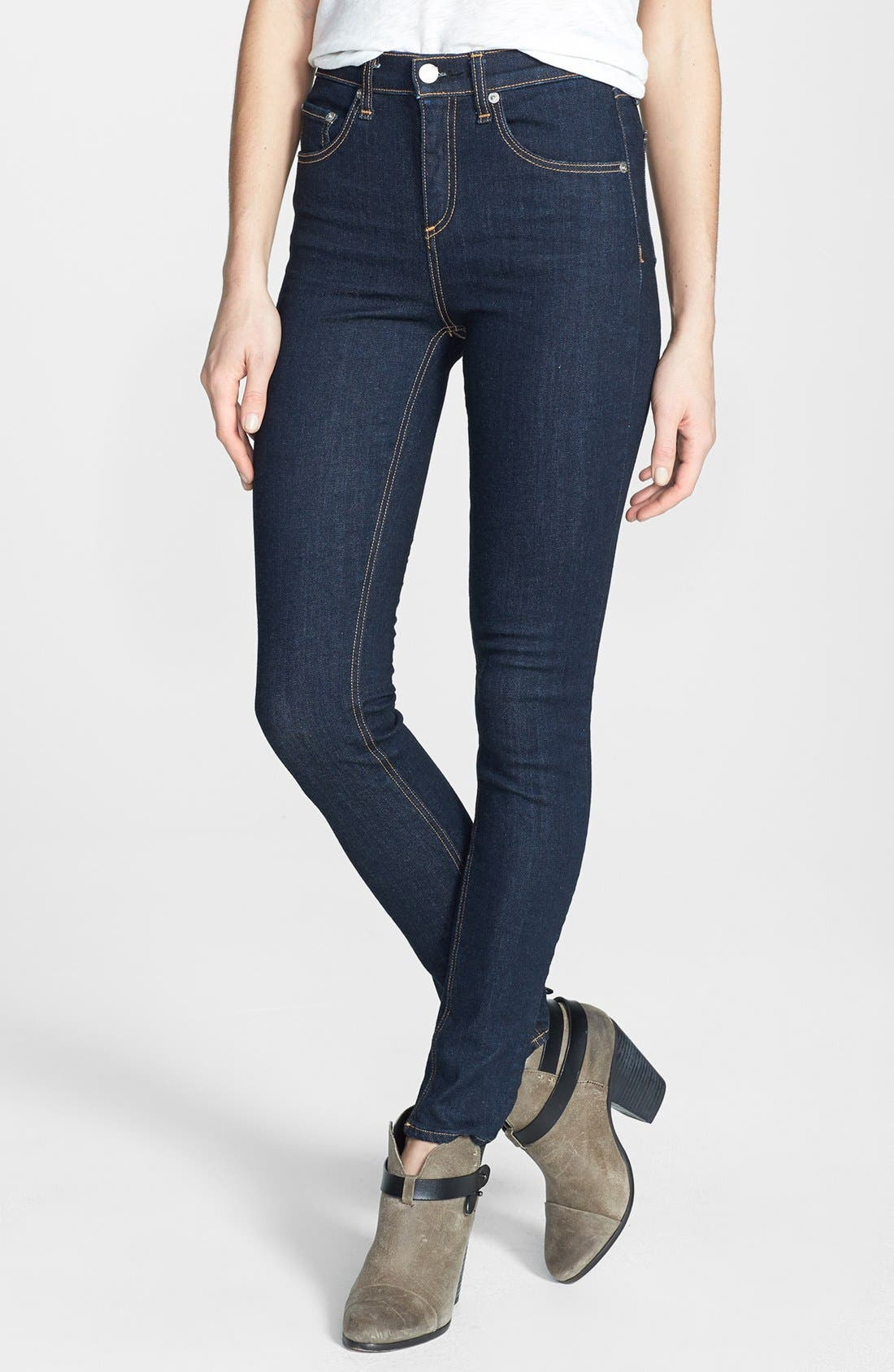 Alternate Image 1 Selected - rag & bone/JEAN High Rise Skinny Jeans (Heritage)