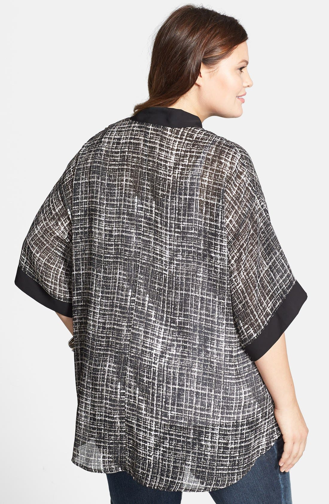 Alternate Image 2  - Soprano Print Woven High/Low Cardigan (Plus Size)