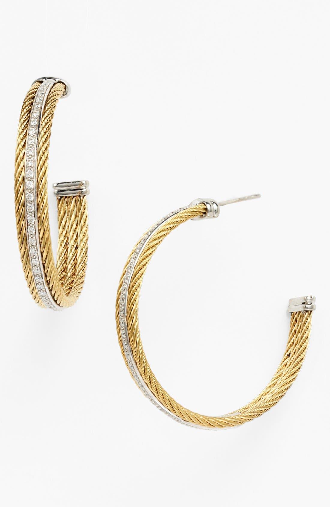 Alternate Image 1 Selected - ALOR® Diamond Hoop Earrings