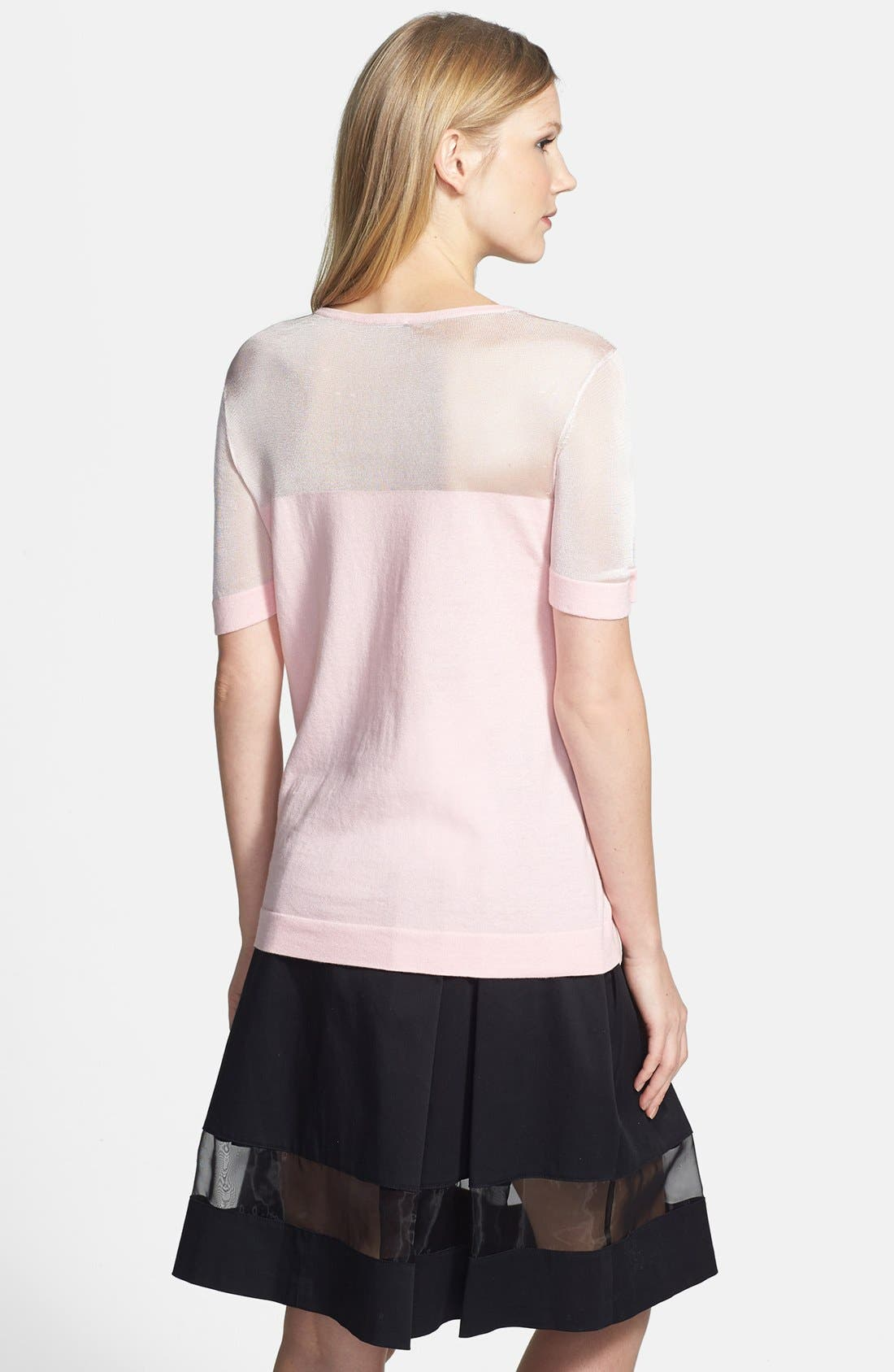 Alternate Image 2  - Vince Camuto Sheer Yoke Short Sleeve Cotton Blend Sweater