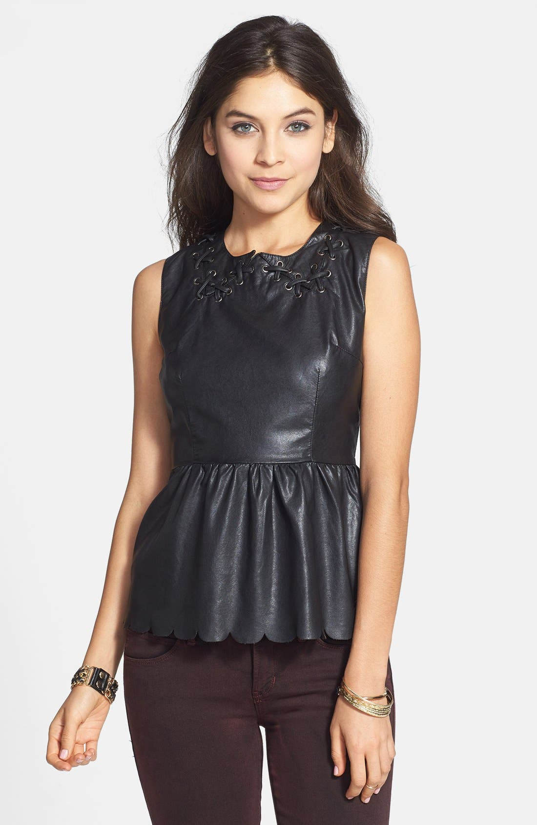 Main Image - C. Luce Scalloped Faux Leather Peplum Top (Juniors)