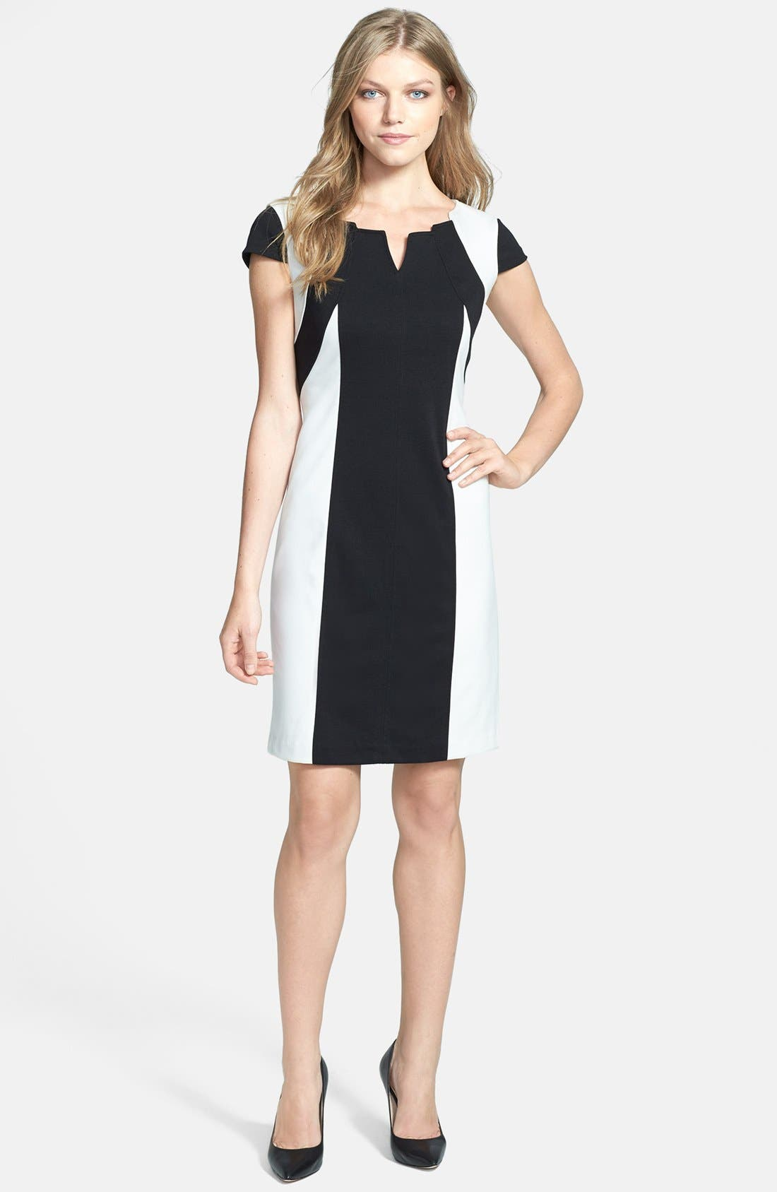 Alternate Image 2  - Ellen Tracy Colorblock Ponte Sheath Dress