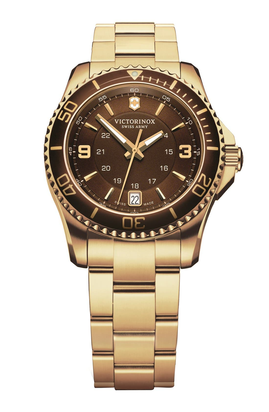 Alternate Image 1 Selected - Victorinox Swiss Army® 'Maverick GS' Two Tone Bracelet Watch, 34mm