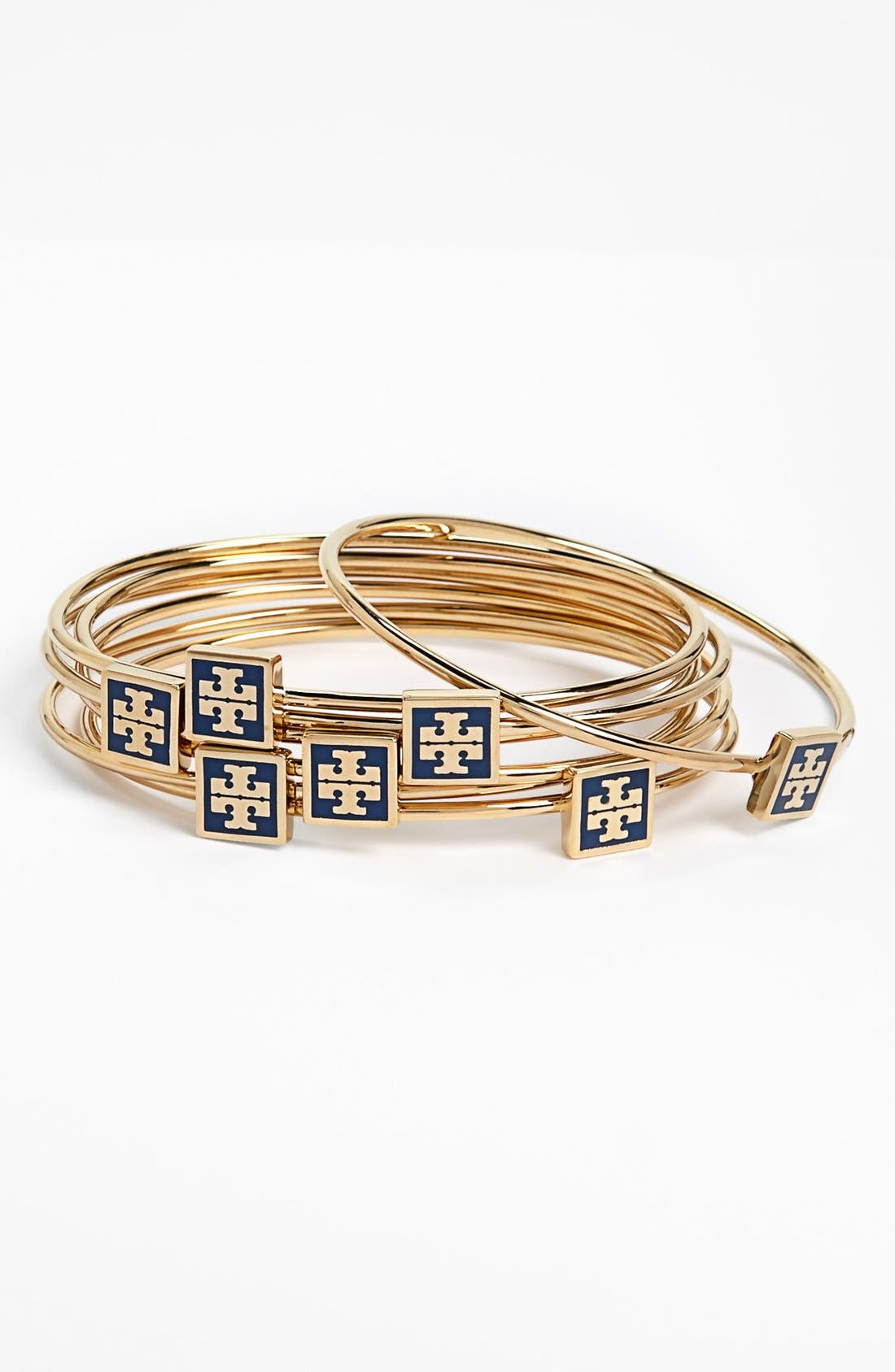 Main Image - Tory Burch Logo Skinny Bangles (Set of 7) (Special Purchase)