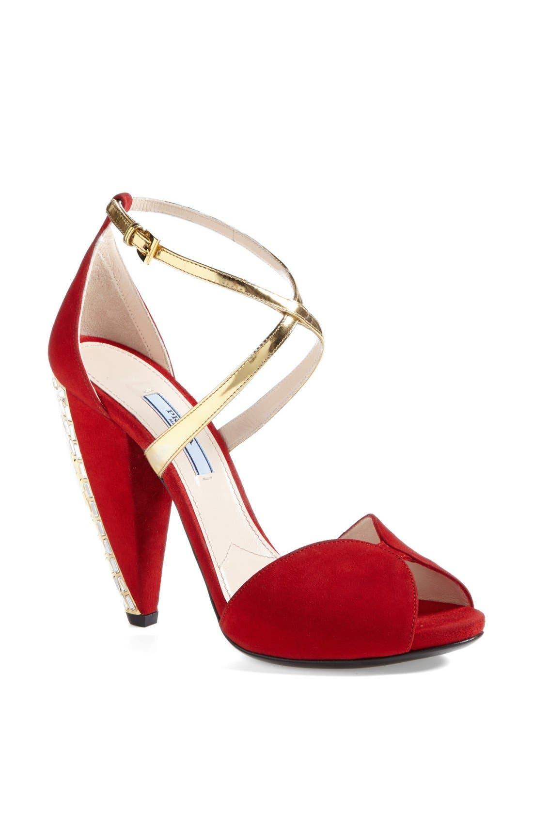 Alternate Image 1 Selected - Prada Crystal Heel Sandal