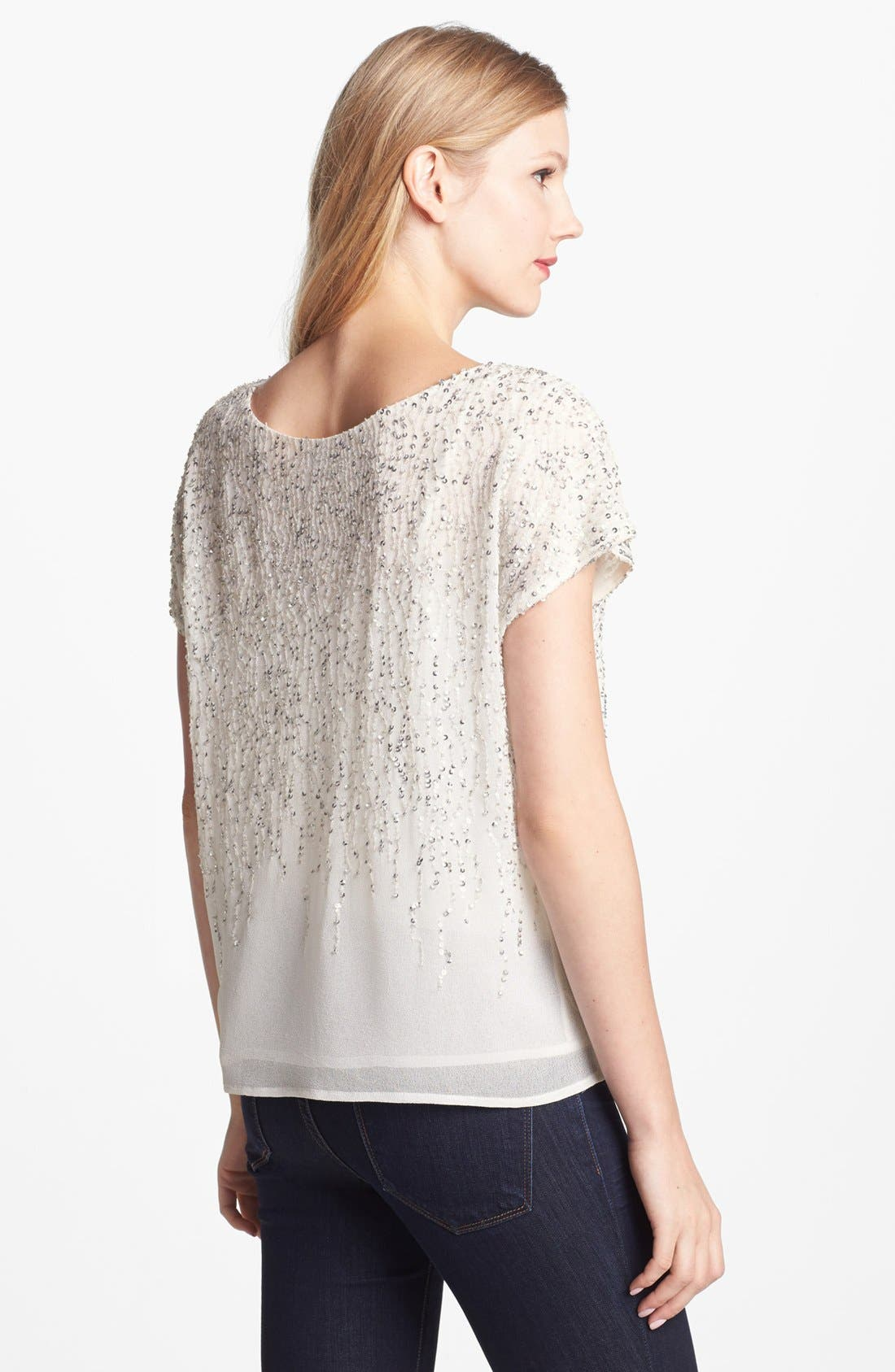 Alternate Image 2  - Vince Camuto 'Flower Fields' Short Sleeve Sequin Blouse