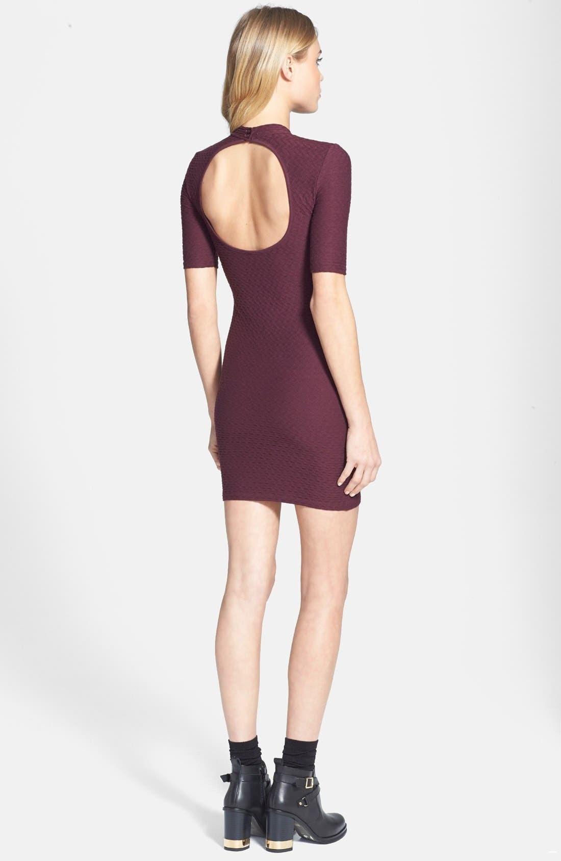 Alternate Image 2  - Topshop Cutout Textured Body-Con Dress