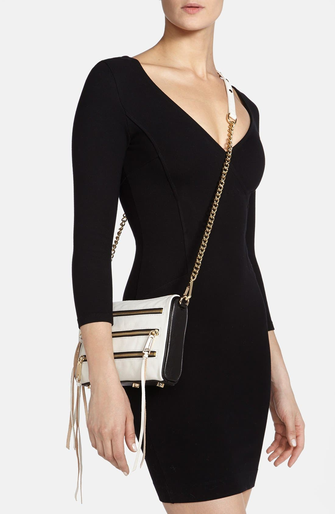 Alternate Image 2  - Rebecca Minkoff '5 Zip - Mini' Two-Tone Leather Crossbody Bag